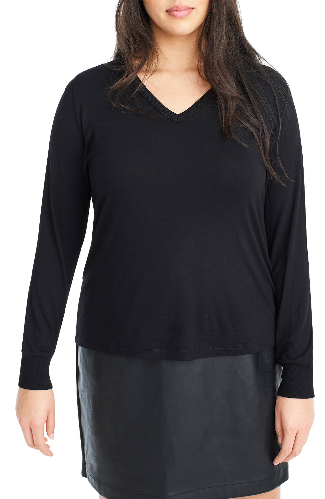 for J.Crew Jersey Tee,                             Main thumbnail 1, color,                             BLACK