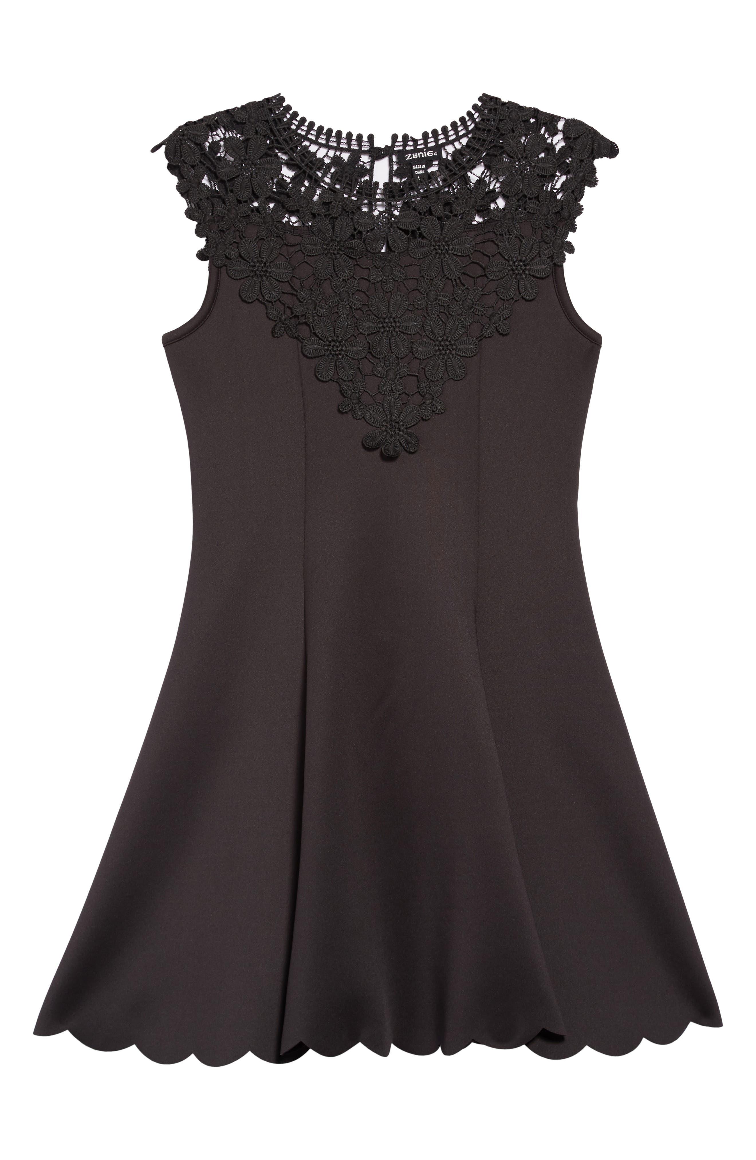 Floral Lace Skater Dress,                         Main,                         color, BLACK