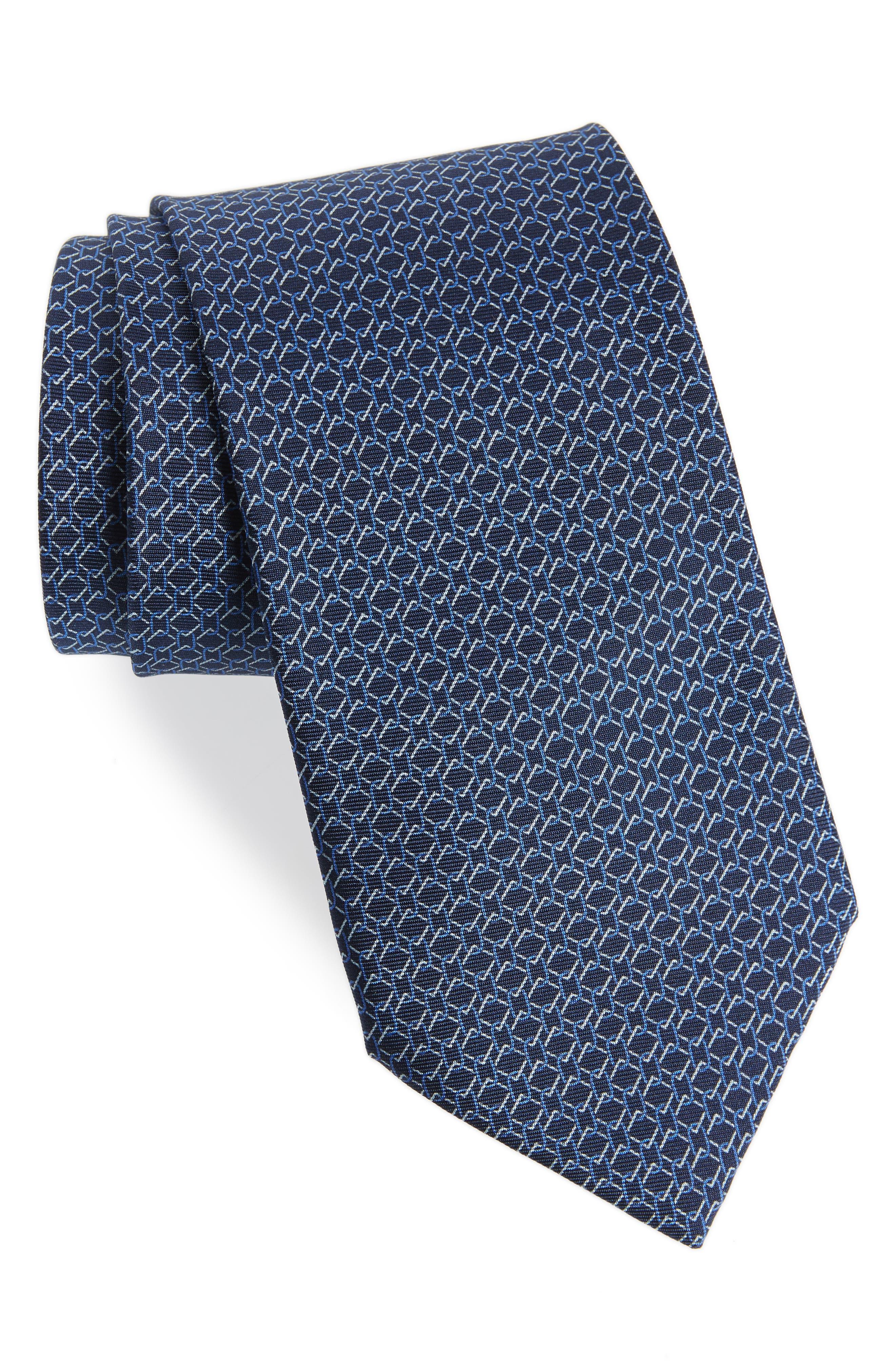 Geometric Silk Tie,                         Main,                         color, BLUE MULTI