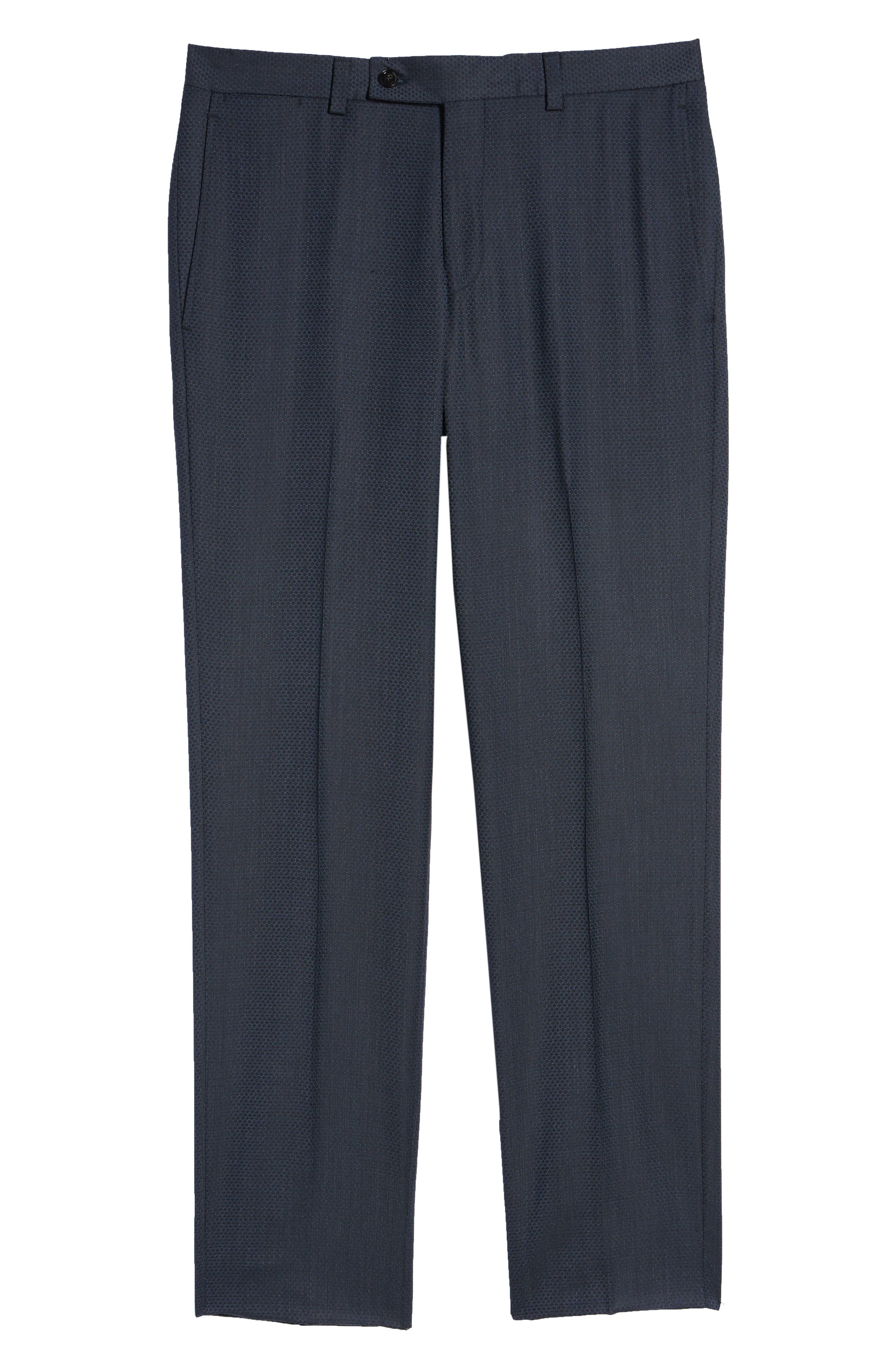 Jefferson Flat Front Solid Wool Trousers,                             Alternate thumbnail 6, color,                             400
