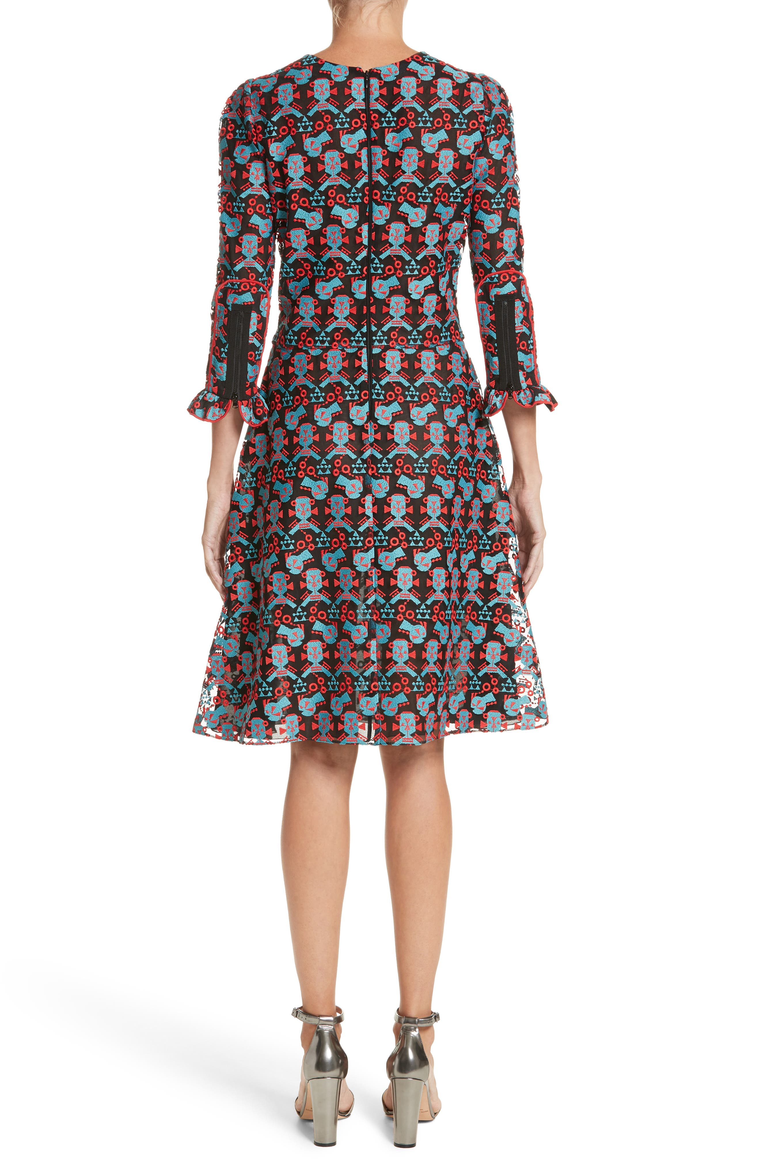 Embroidered Fit & Flare Dress,                             Alternate thumbnail 2, color,                             606