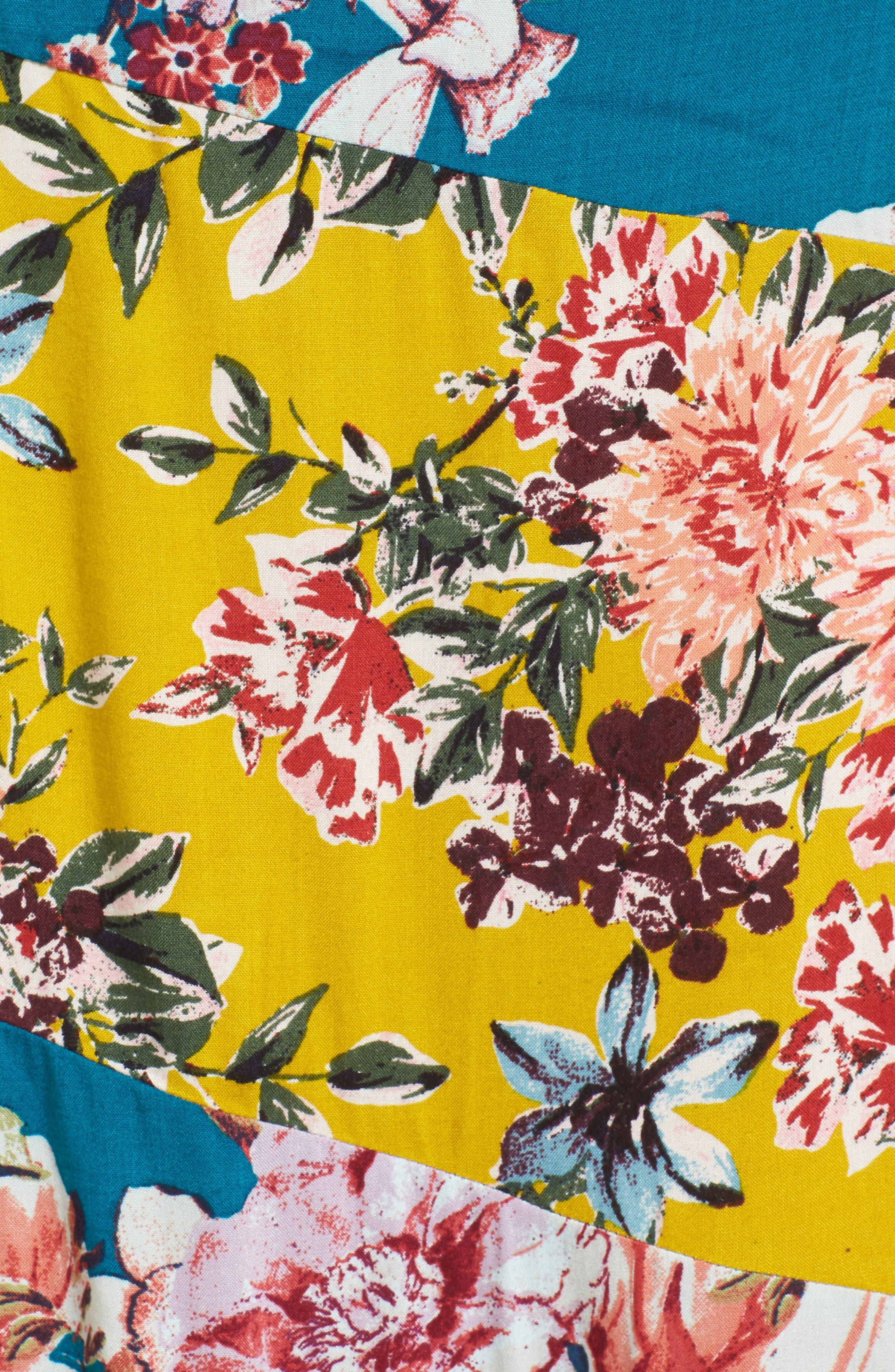 Mix Floral Midi Dress,                             Alternate thumbnail 5, color,                             403