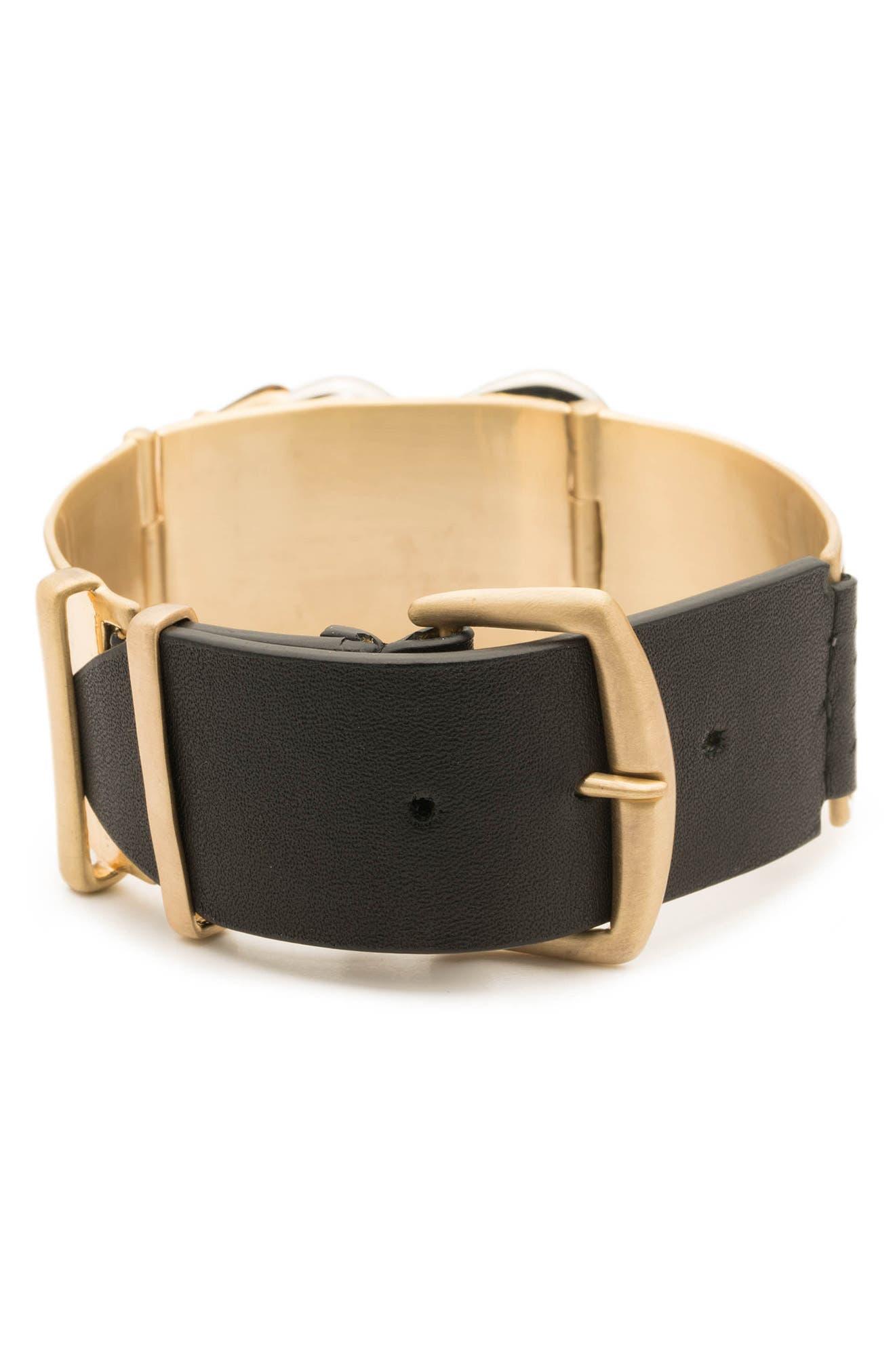 Crystal Encrusted Leather Strap Bracelet,                             Alternate thumbnail 3, color,                             GOLD/ SILVER