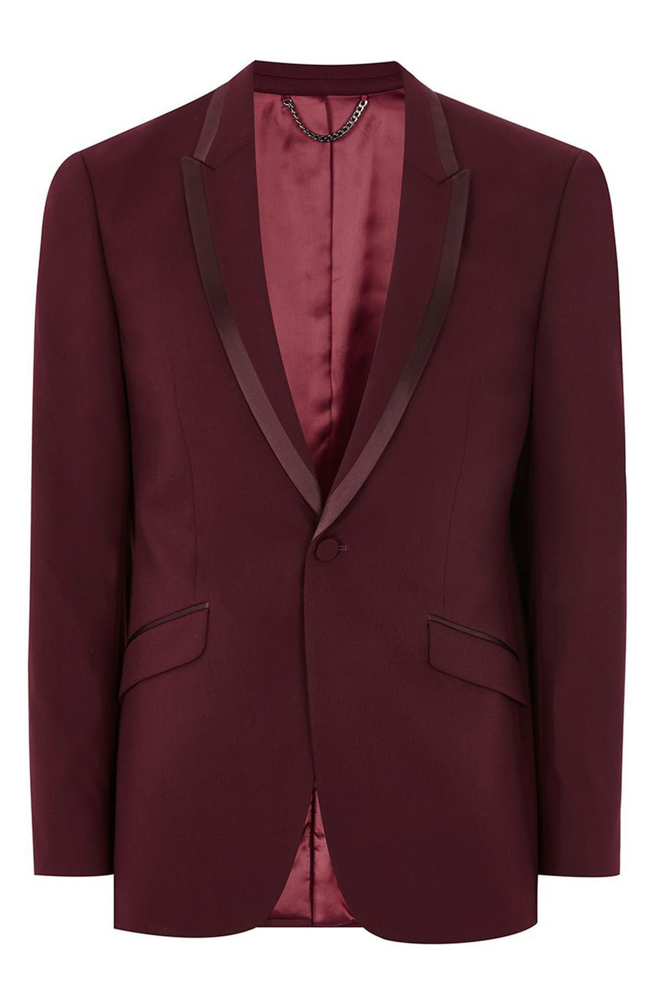 Skinny Fit Burgundy Tuxedo Jacket,                             Alternate thumbnail 4, color,