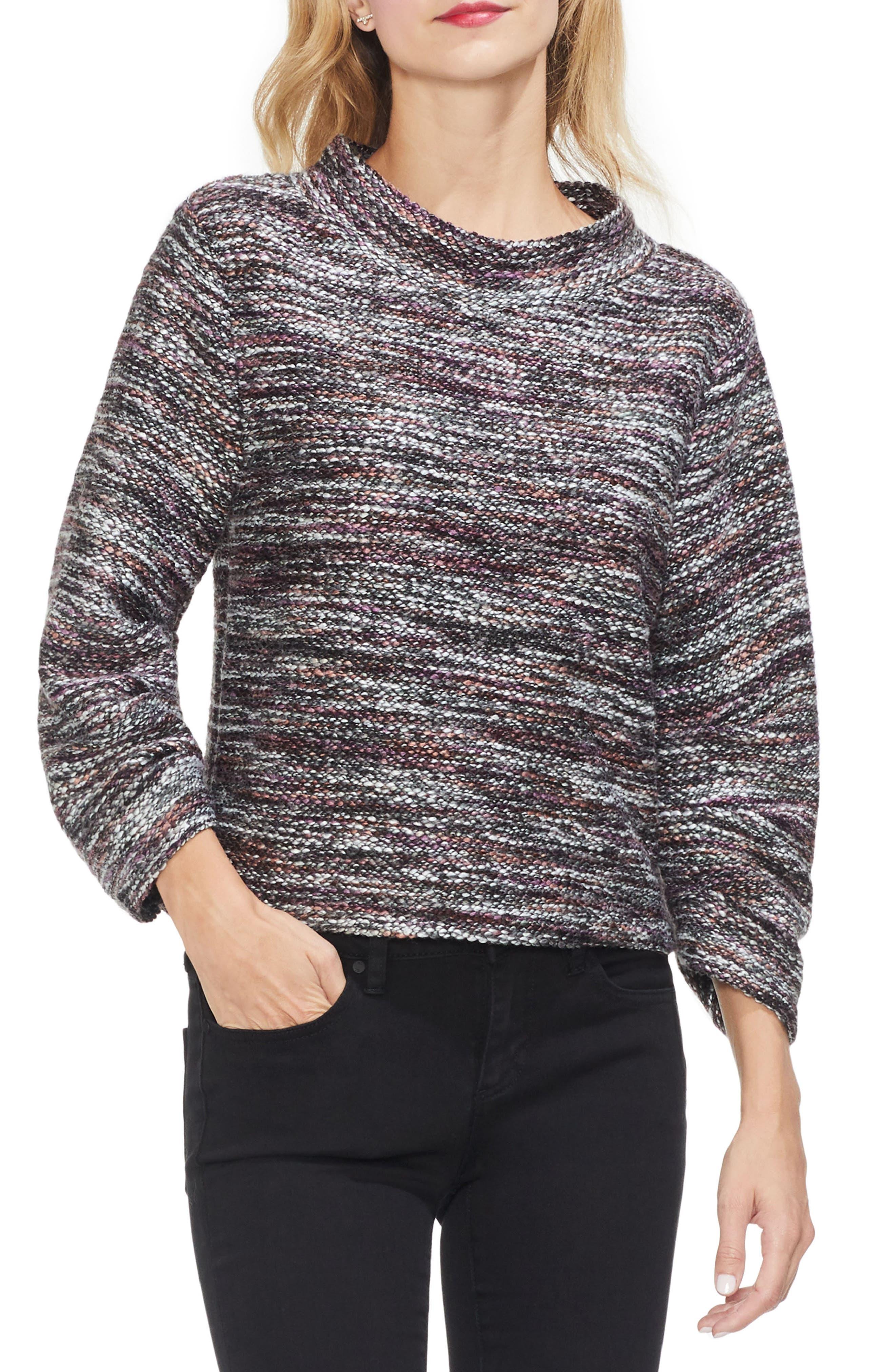 Gathered Sleeve Marled Sweater,                             Main thumbnail 1, color,                             601