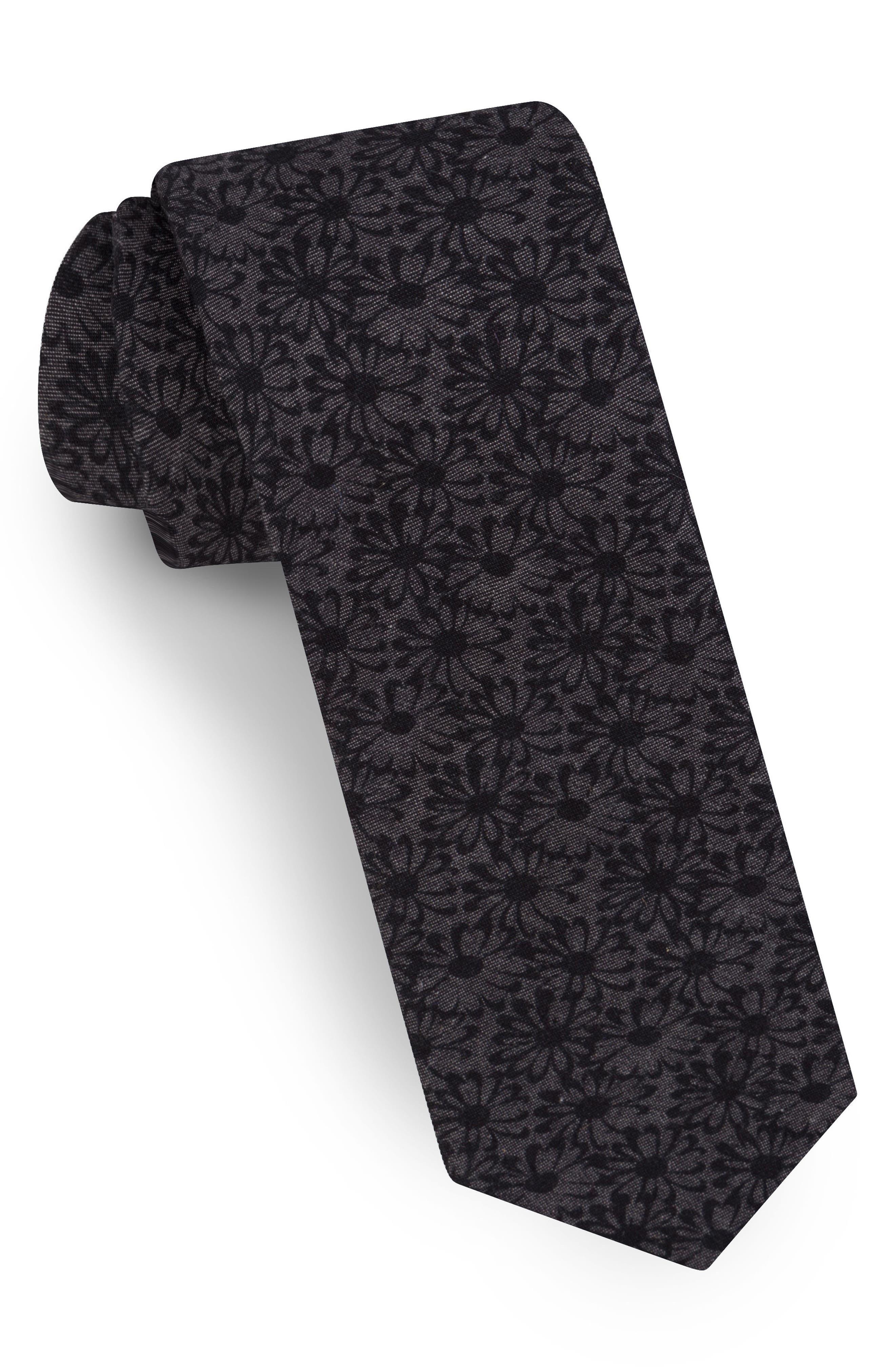 Floral Cotton Tie,                             Main thumbnail 1, color,                             001