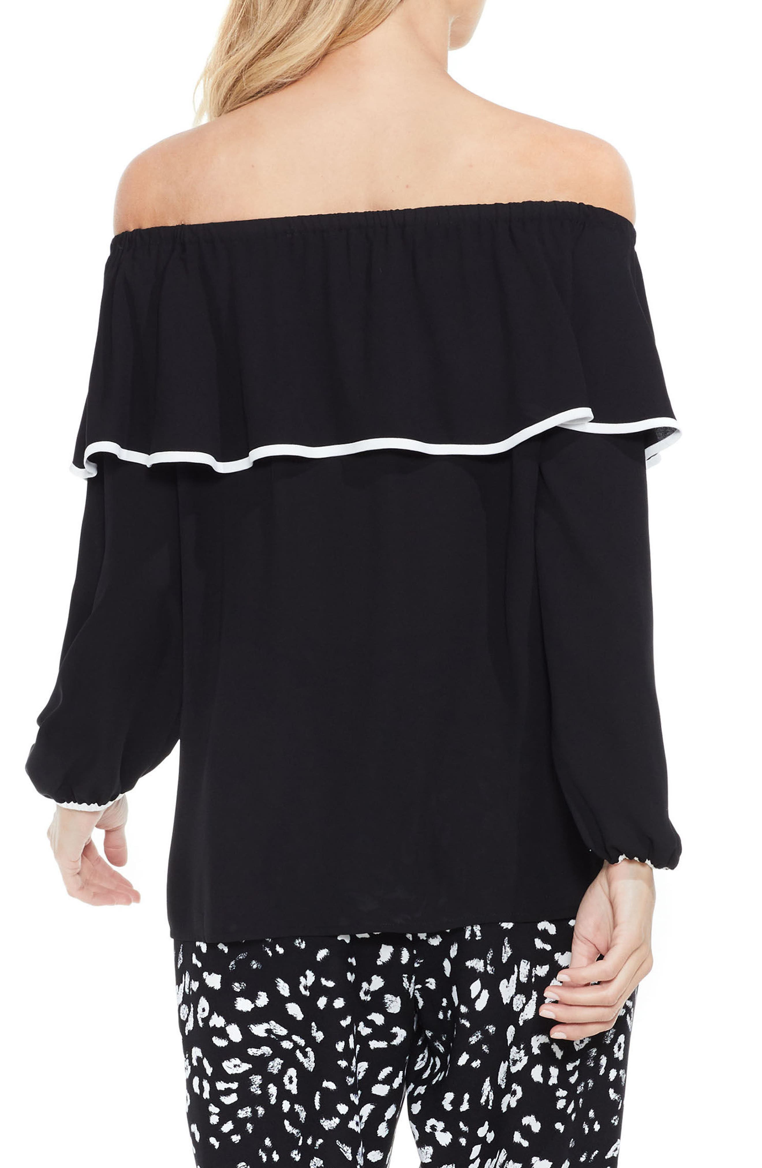 Ruffle Off the Shoulder Blouse,                             Alternate thumbnail 2, color,                             001