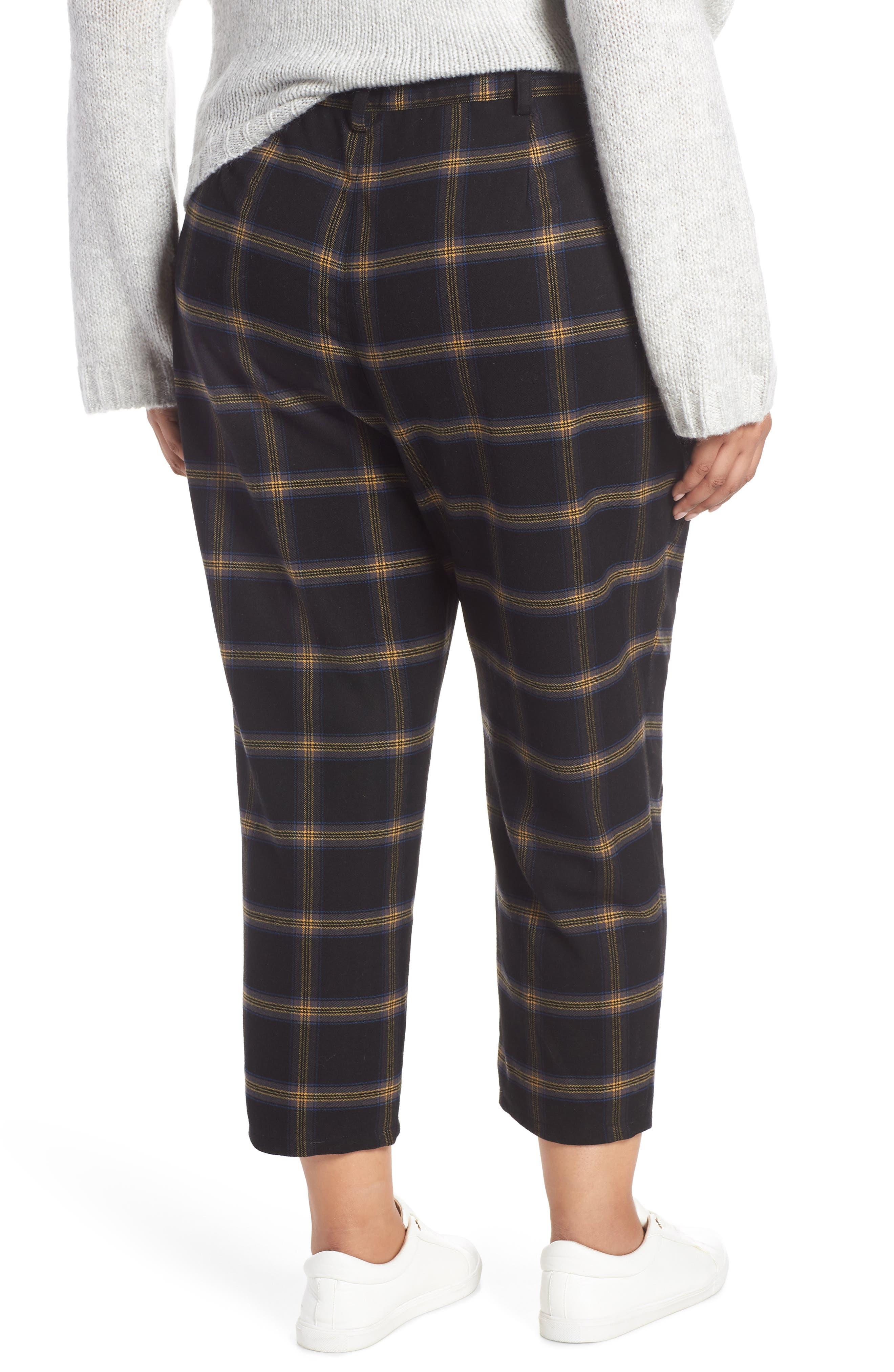 Plaid Menswear Crop Pants,                             Alternate thumbnail 2, color,                             BLACK SHANNON PLAID