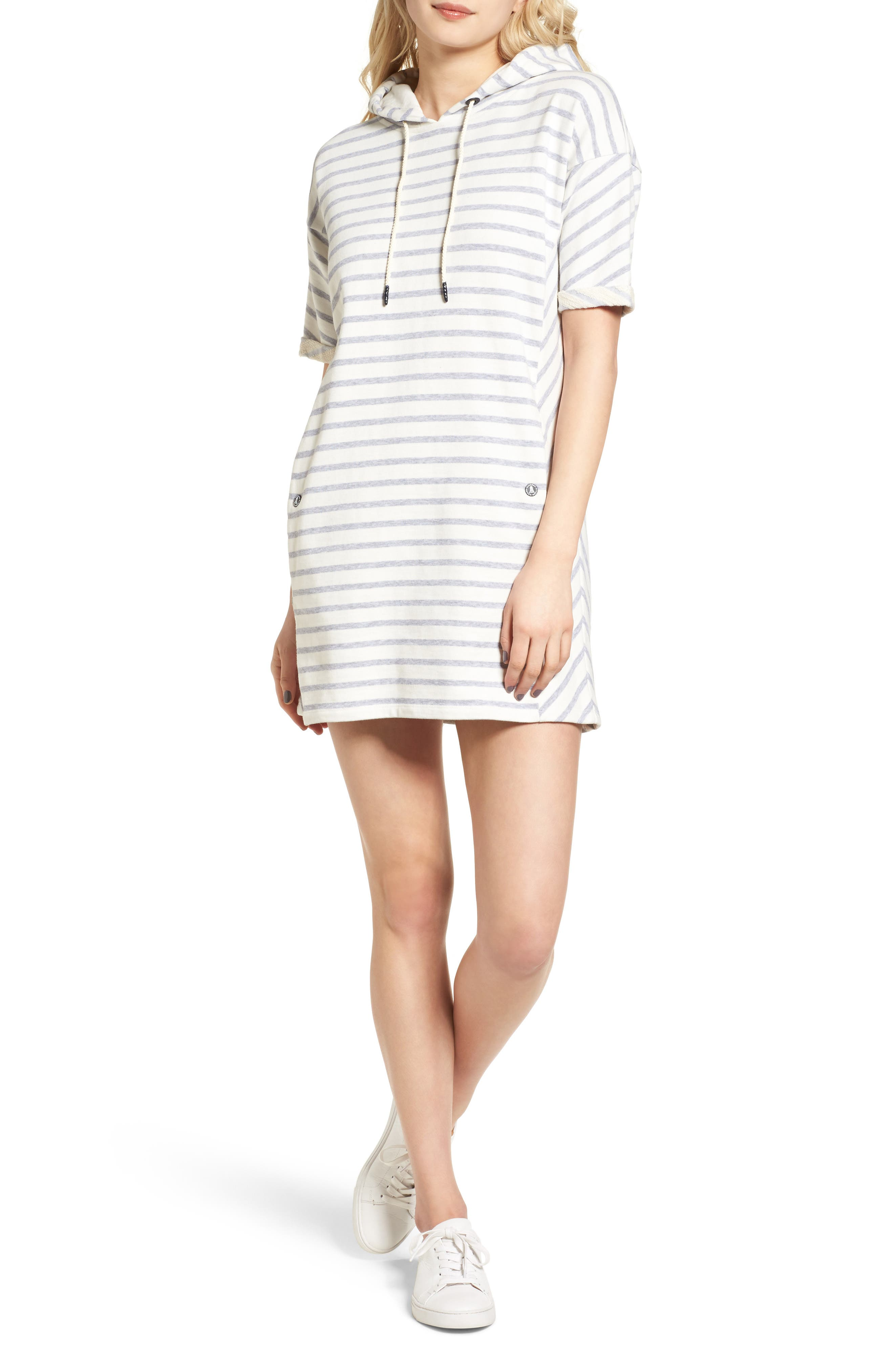 Dive Stripe Terry Hooded Dress,                             Main thumbnail 2, color,