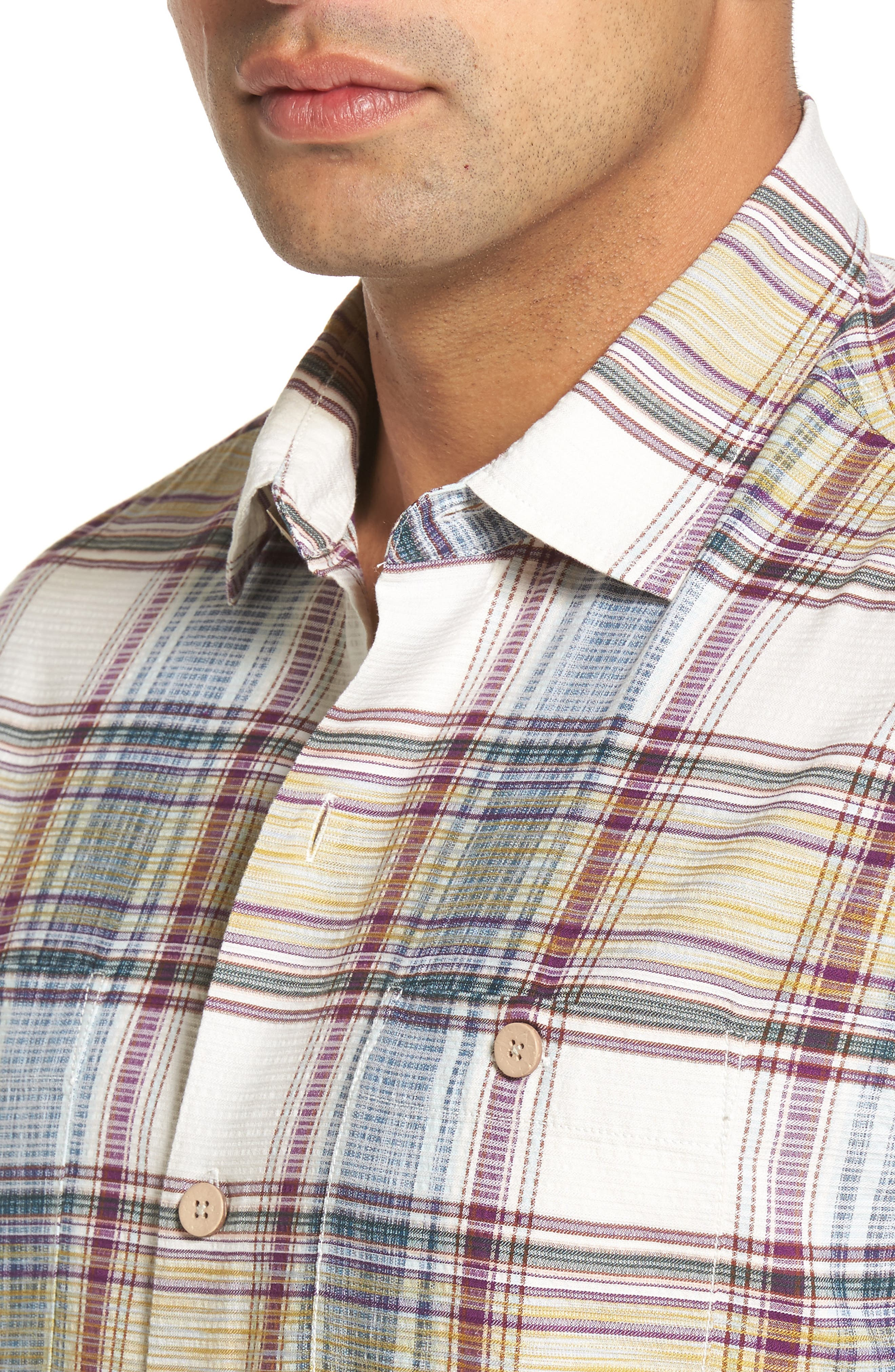 Lazlo Plaid Standard Fit Silk & Cotton Camp Shirt,                             Alternate thumbnail 4, color,                             100