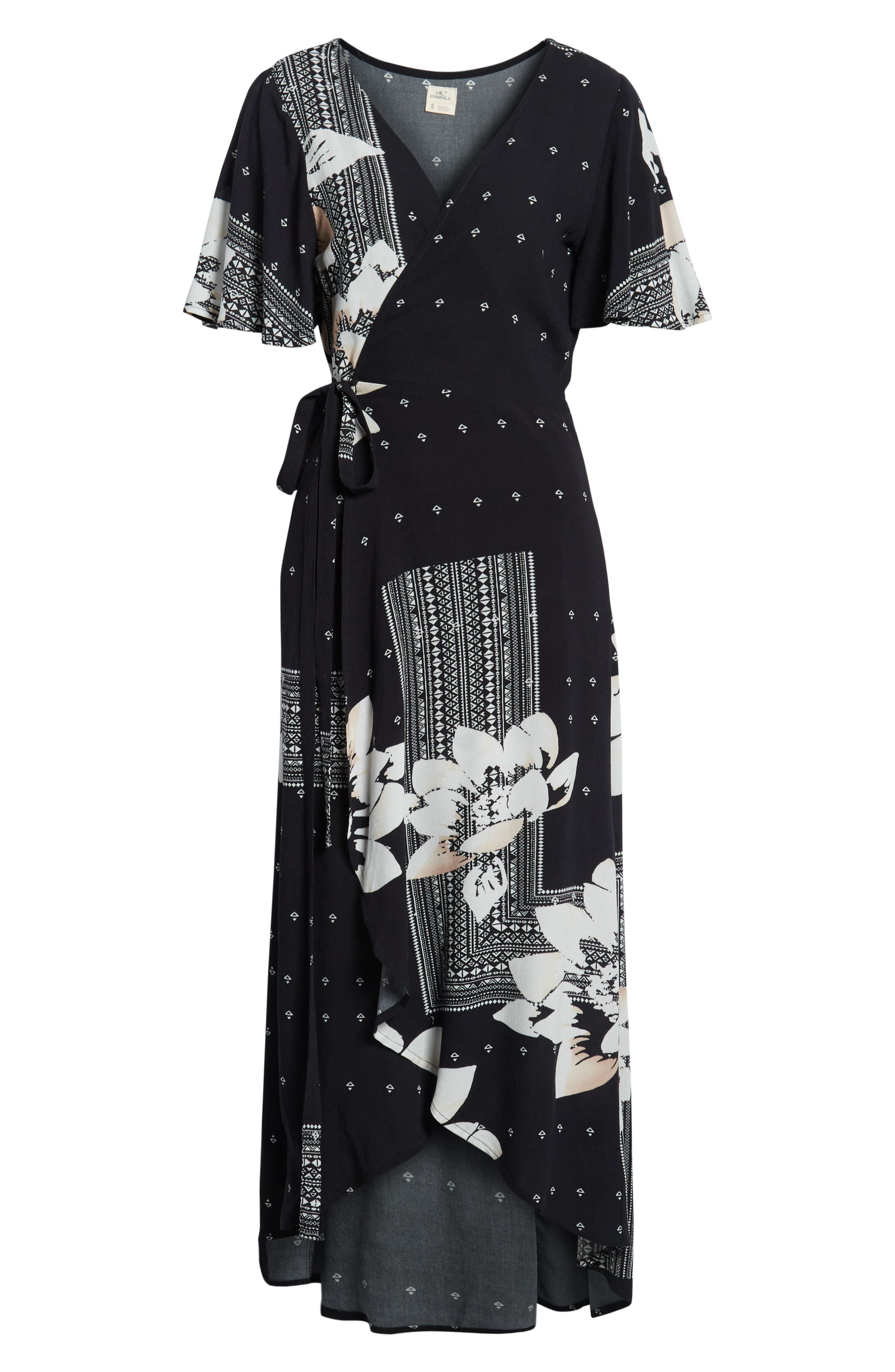 Alamante Print Wrap Dress,                             Alternate thumbnail 7, color,                             001