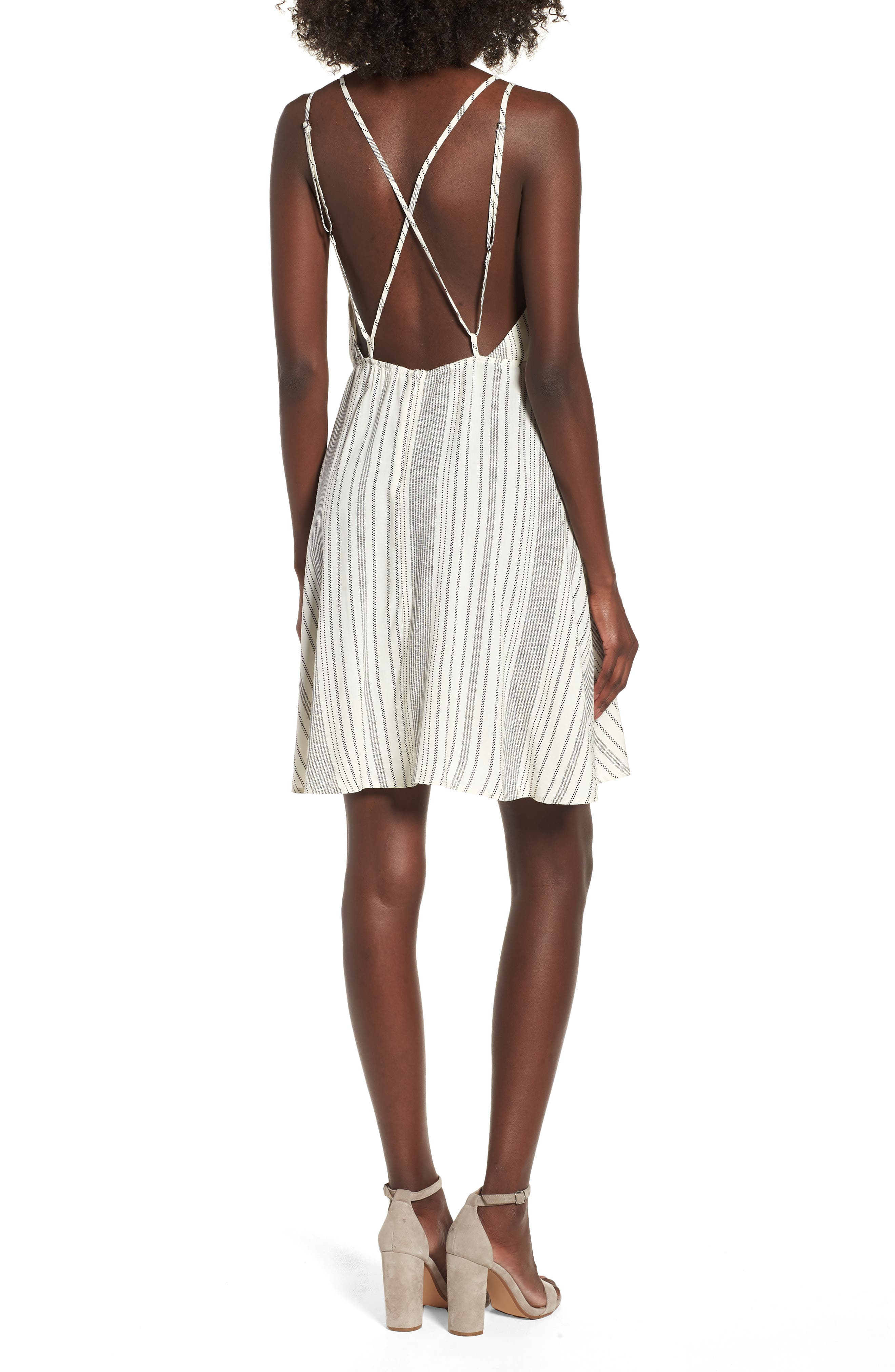 Stripe Strappy Swing Dress,                             Alternate thumbnail 2, color,                             900