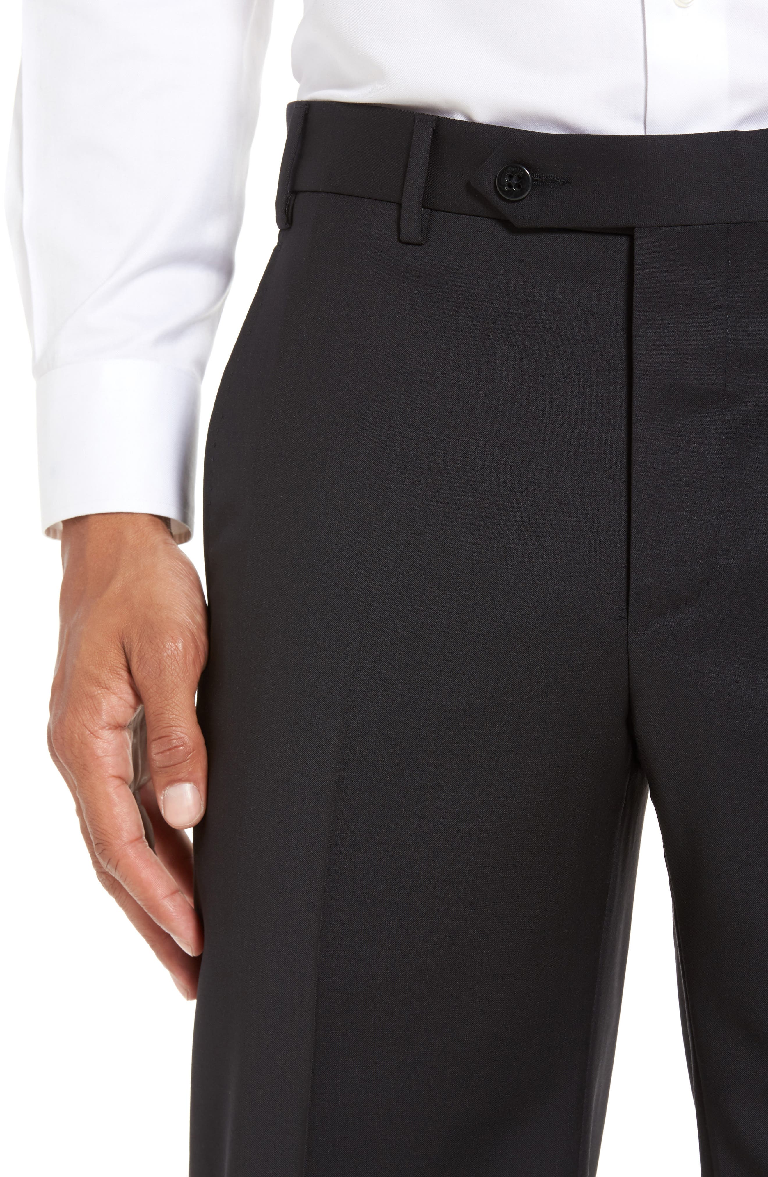 Devon Flat Front Solid Wool Serge Trousers,                             Alternate thumbnail 5, color,                             BLACK