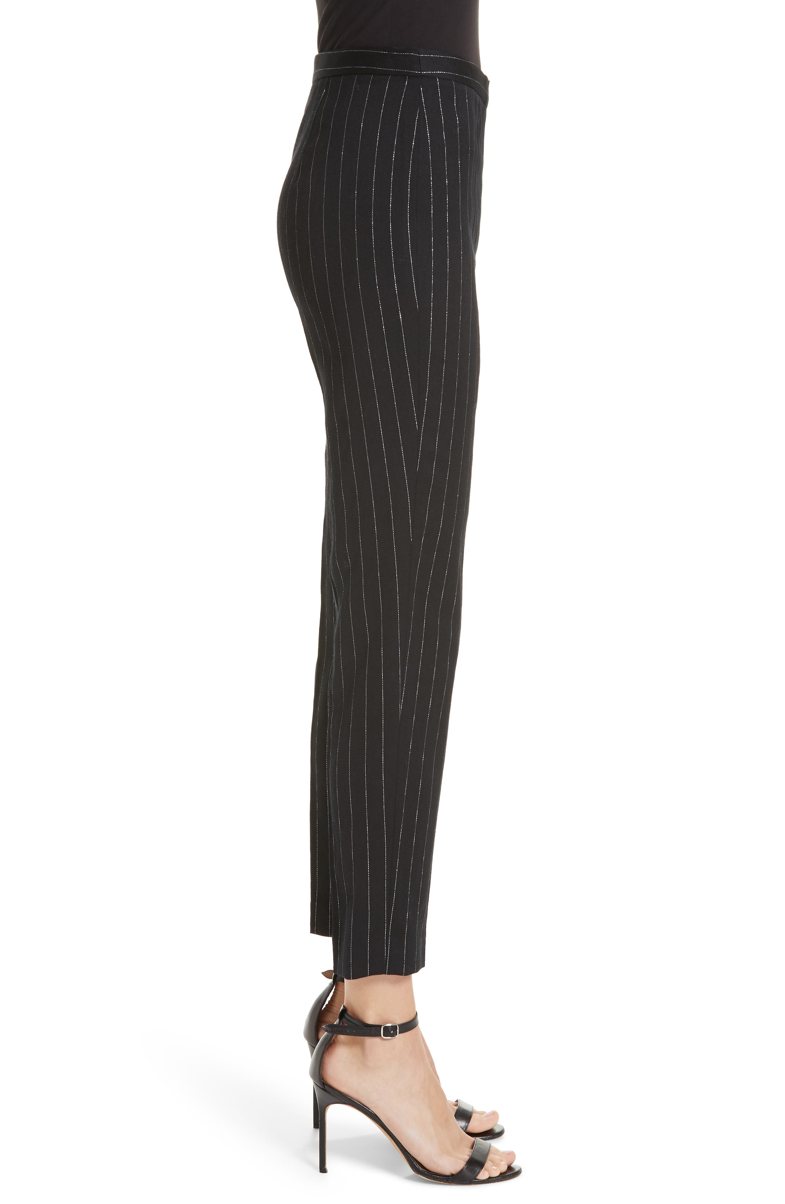 Metallic Pinstripe High Waist Skinny Wool Pants,                             Alternate thumbnail 3, color,                             BLACK