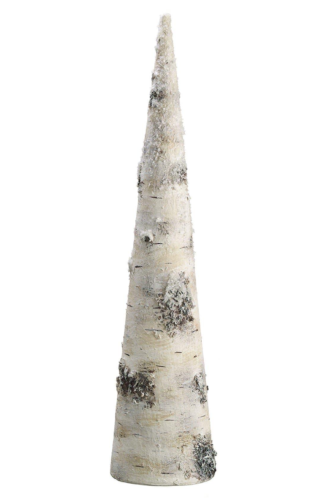 Snowy Faux Birch Cone Decoration,                         Main,                         color, 280