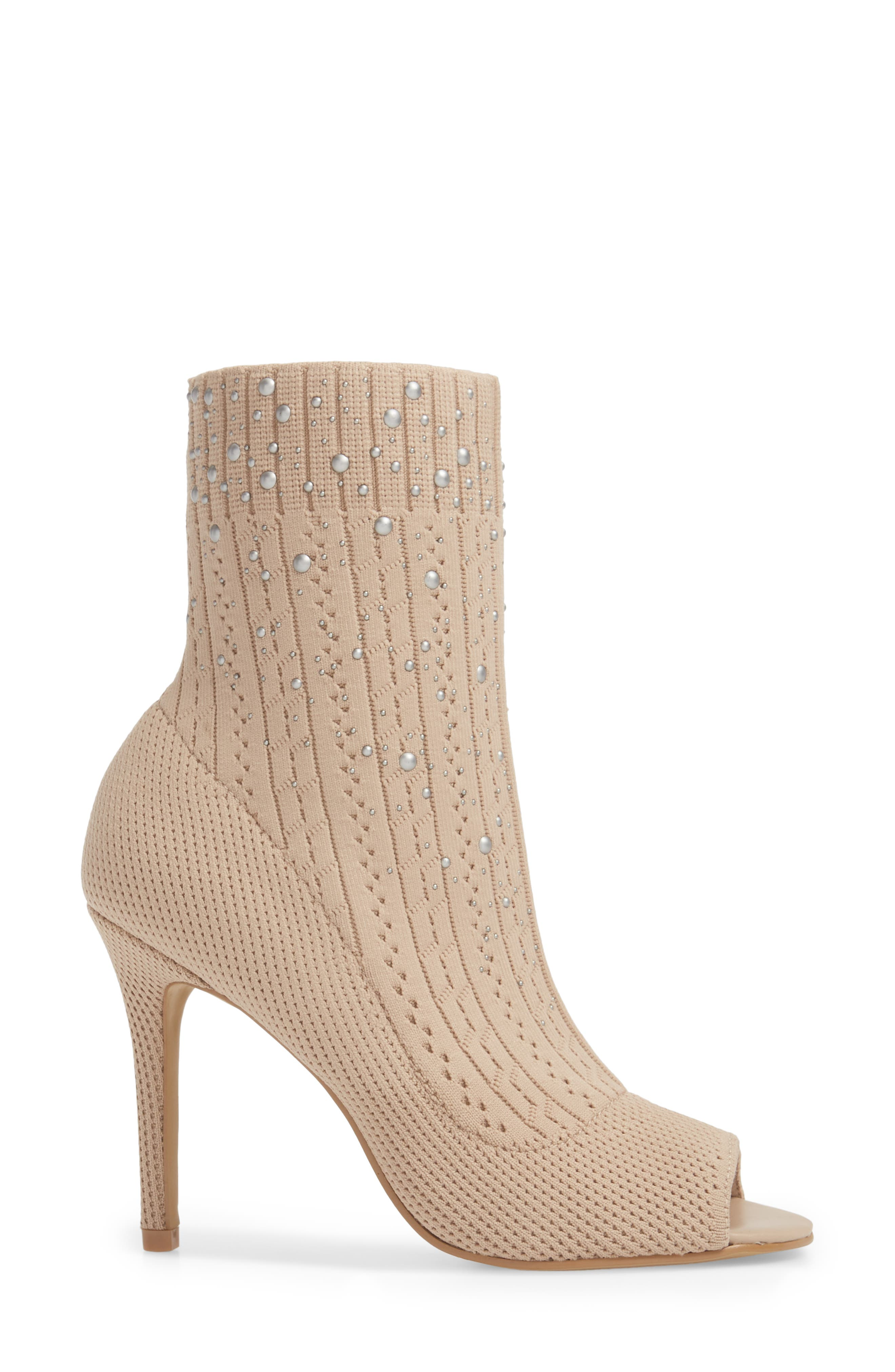 Peep Toe Sock Bootie,                             Alternate thumbnail 3, color,                             250