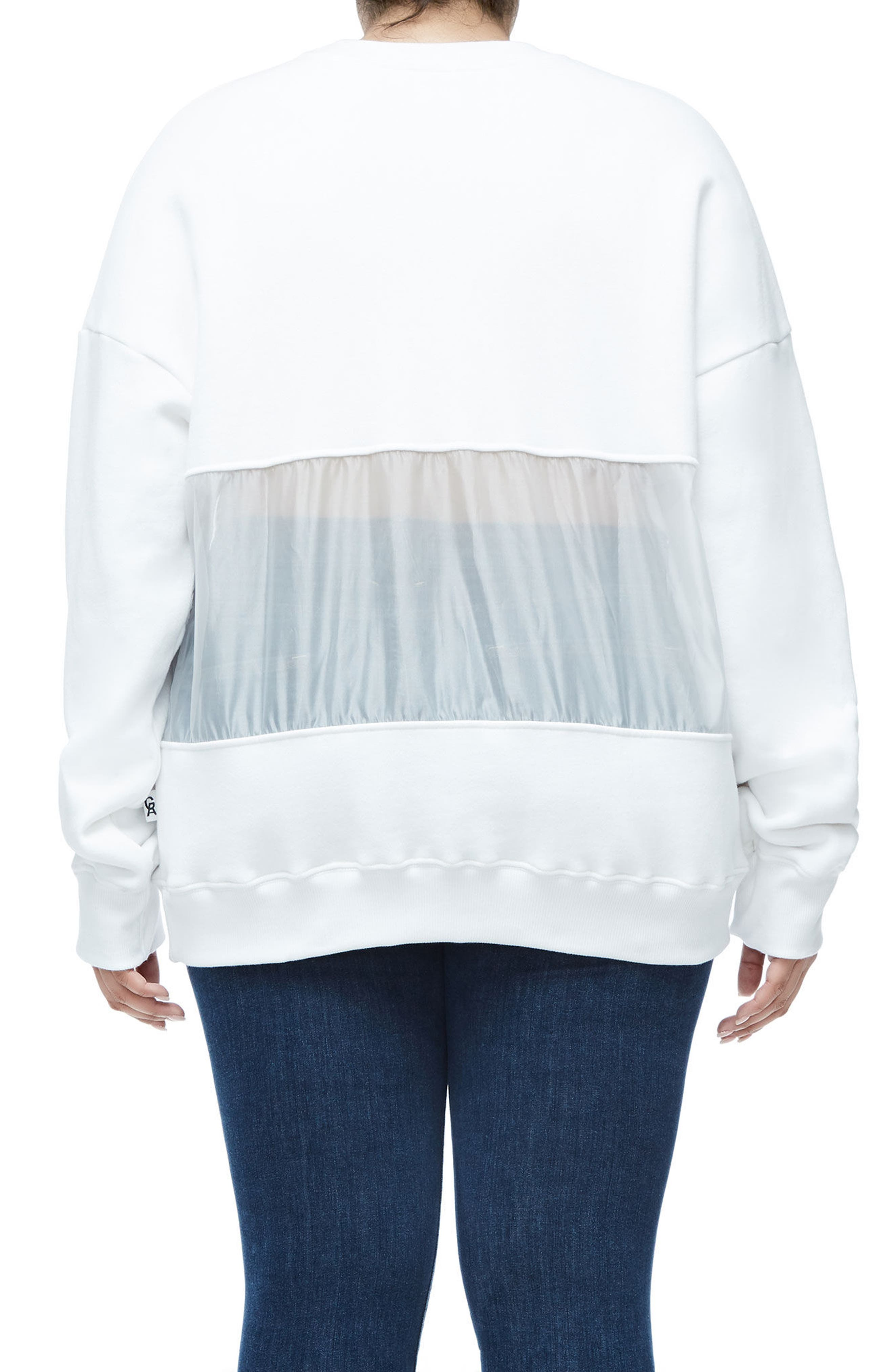 Mixed Media Oversize Sweatshirt,                             Alternate thumbnail 6, color,
