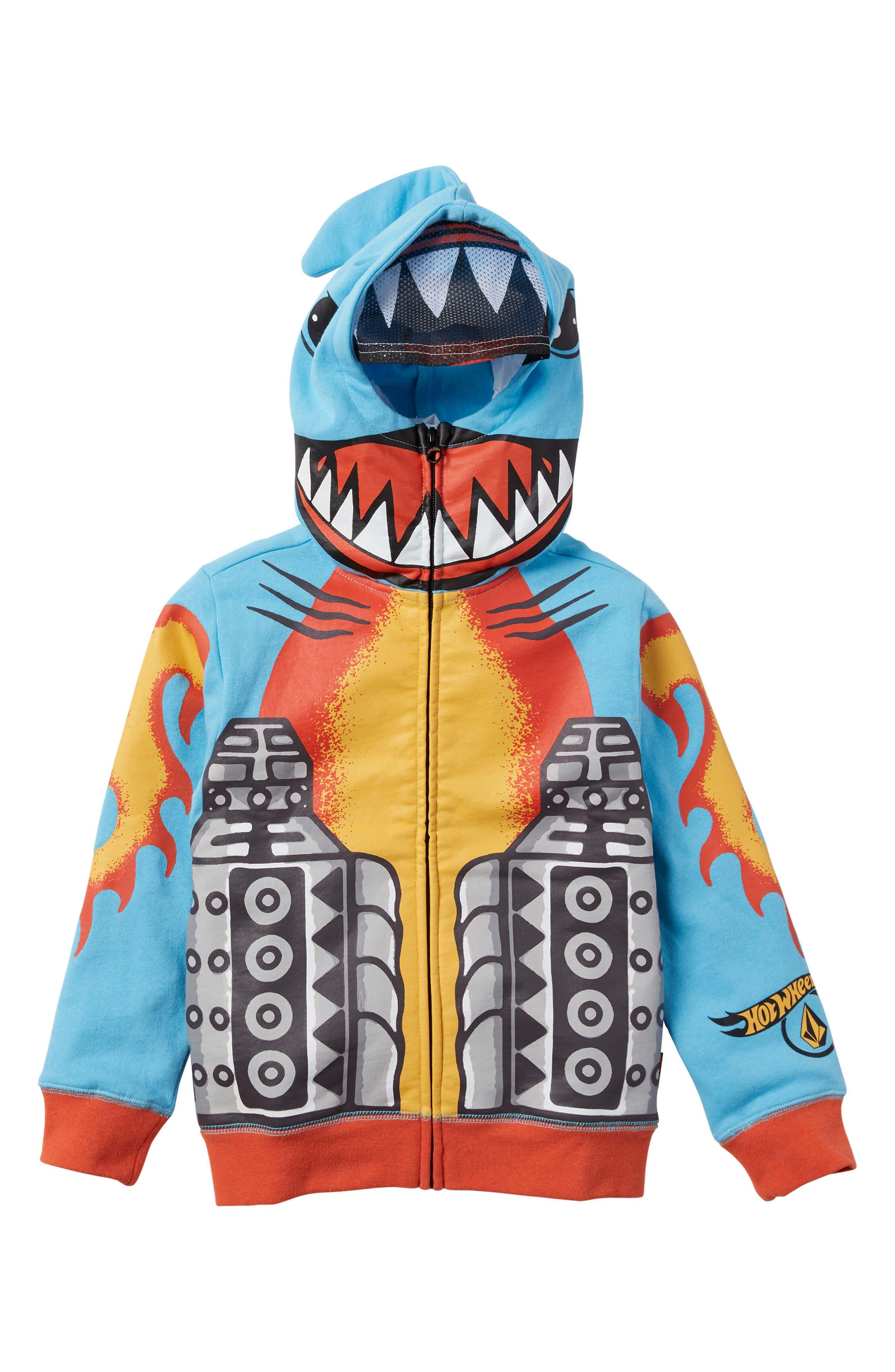Boys Volcom X Hot Wheels Shark Cruiser Zip Hoodie