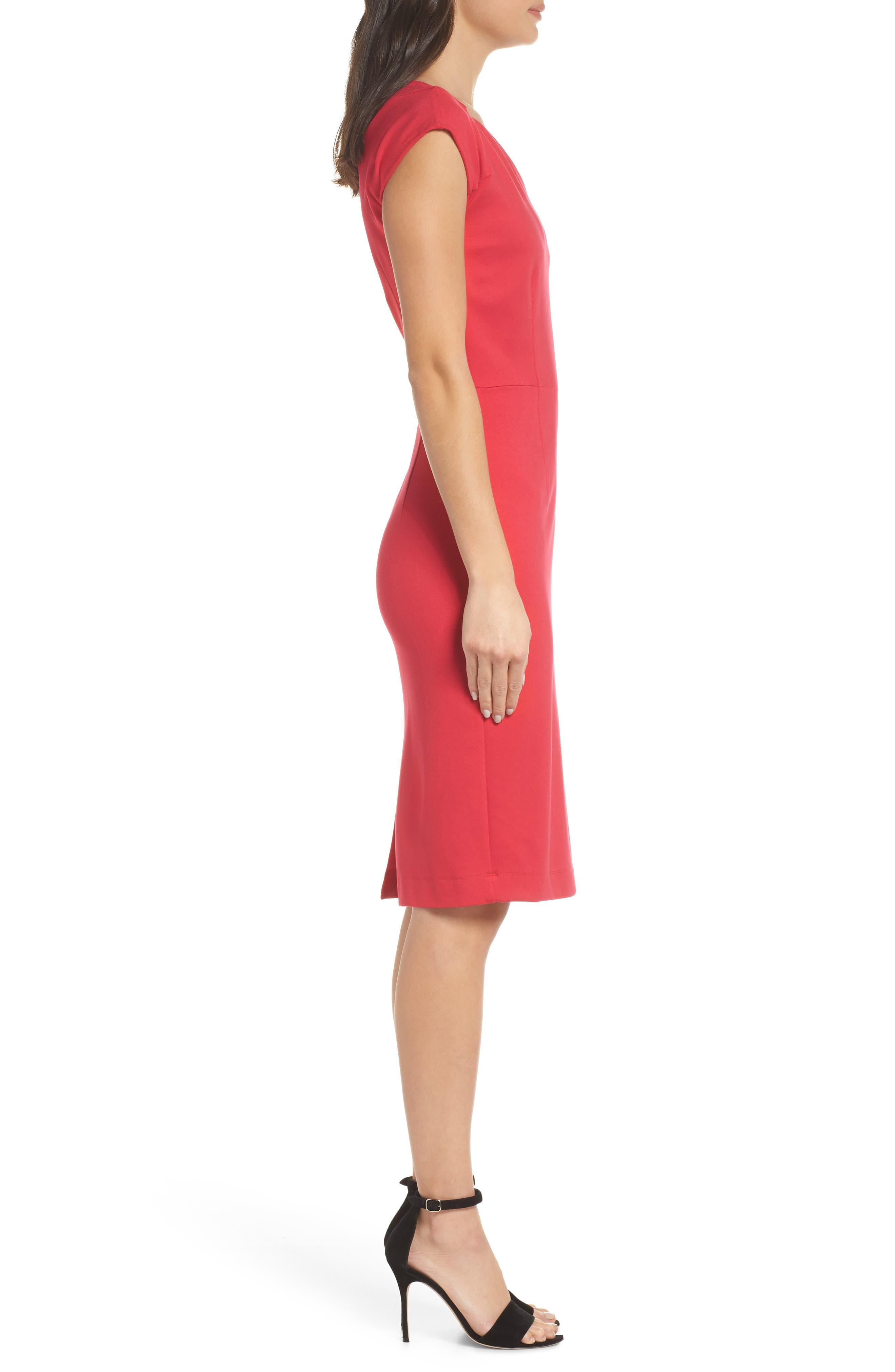 Lula Sheath Dress,                             Alternate thumbnail 3, color,                             WATERMELON