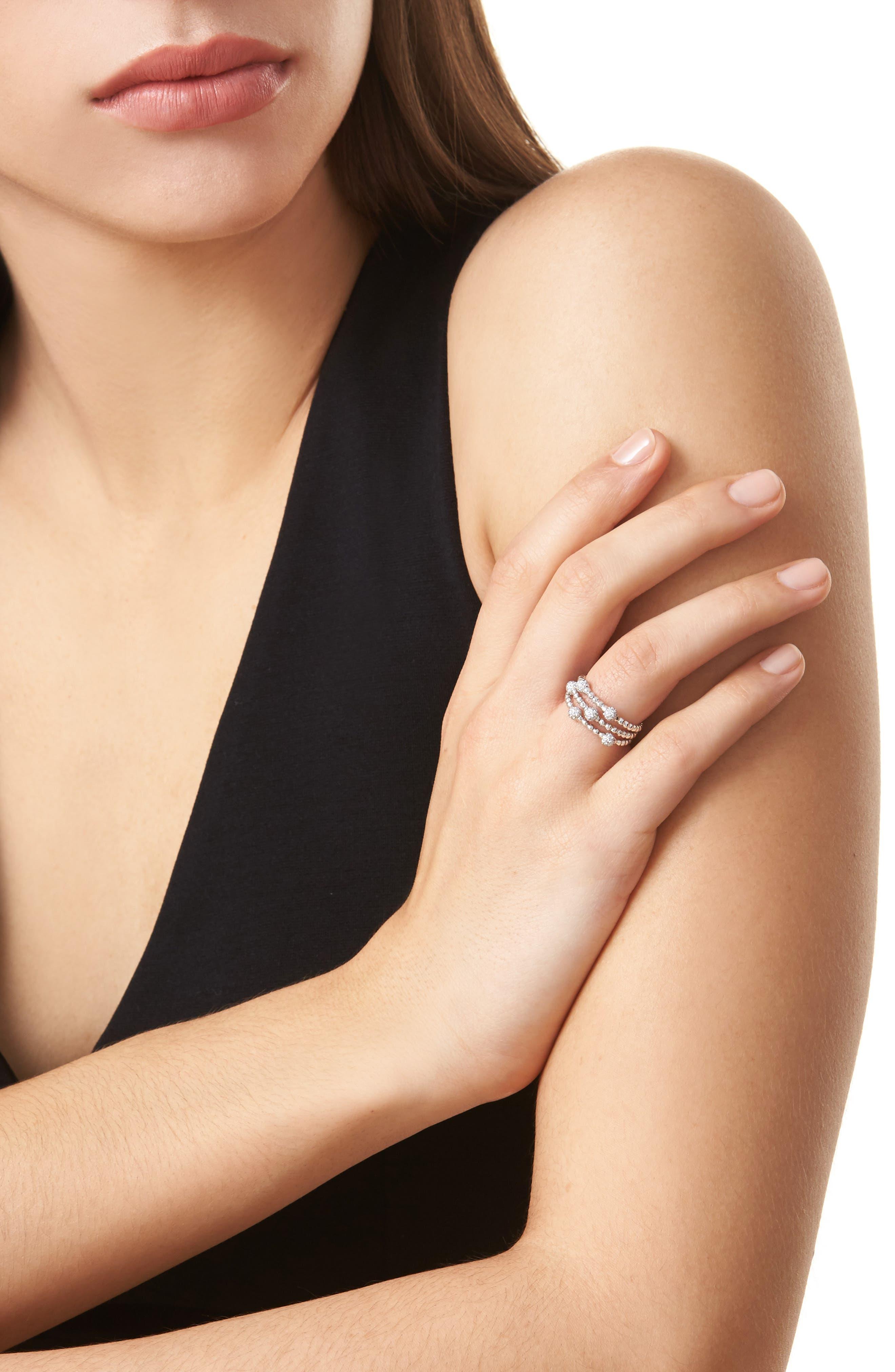 BONY LEVY,                             Pavé Ball Bead Three-Row Diamond Ring,                             Alternate thumbnail 2, color,                             WHITE GOLD