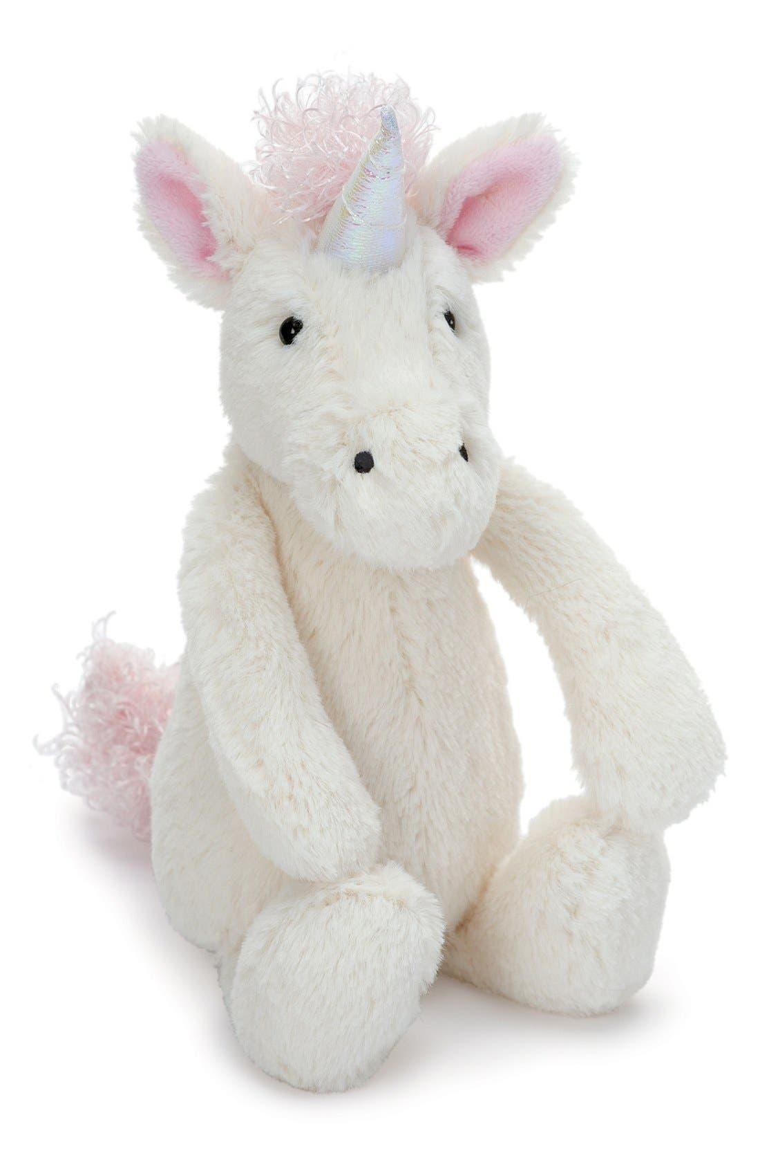 JELLYCAT,                             'Small Bashful Unicorn' Stuffed Animal,                             Main thumbnail 1, color,                             CREAM