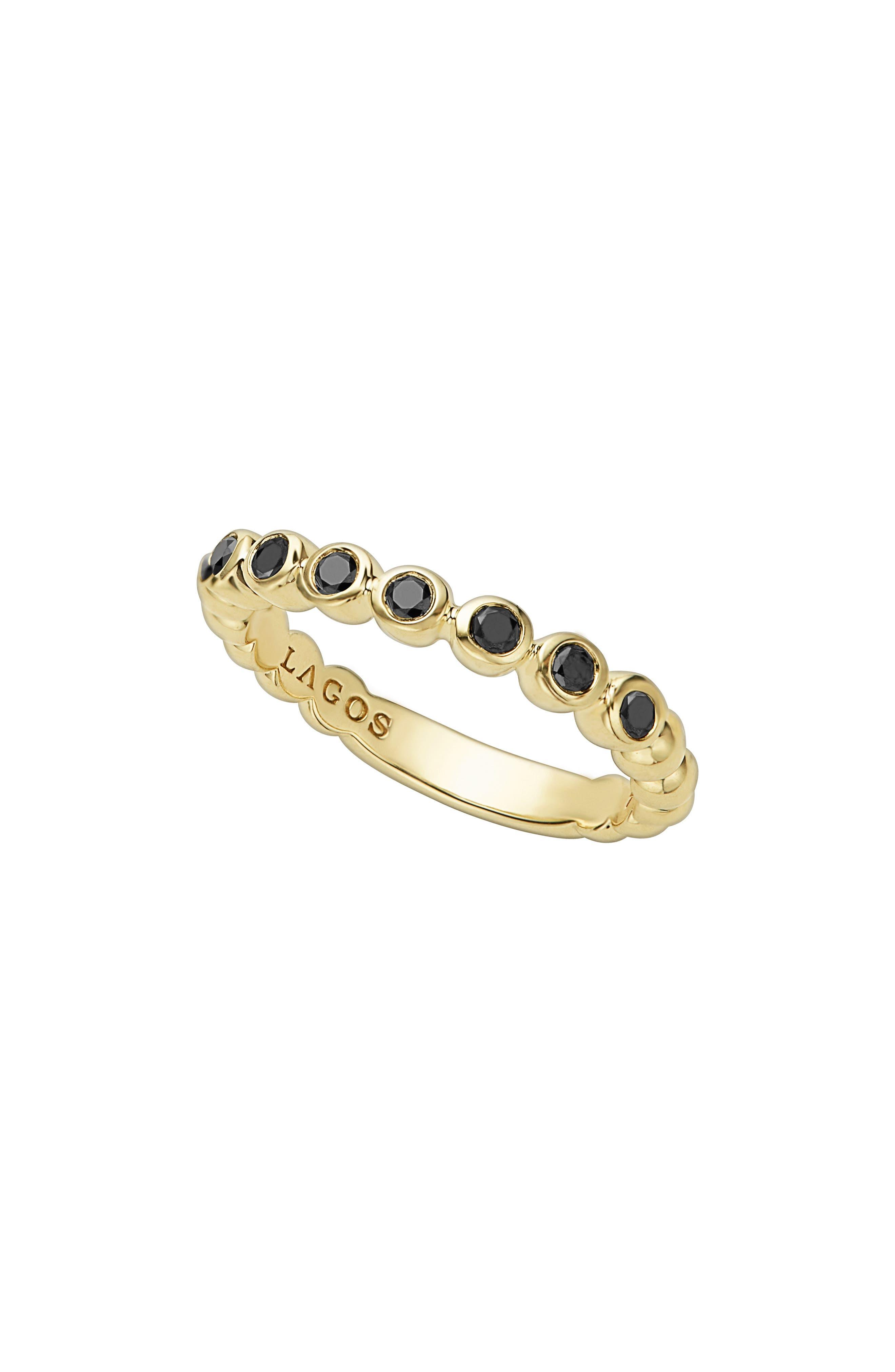 Black Diamond Caviar Stacking Ring,                             Main thumbnail 1, color,                             GOLD