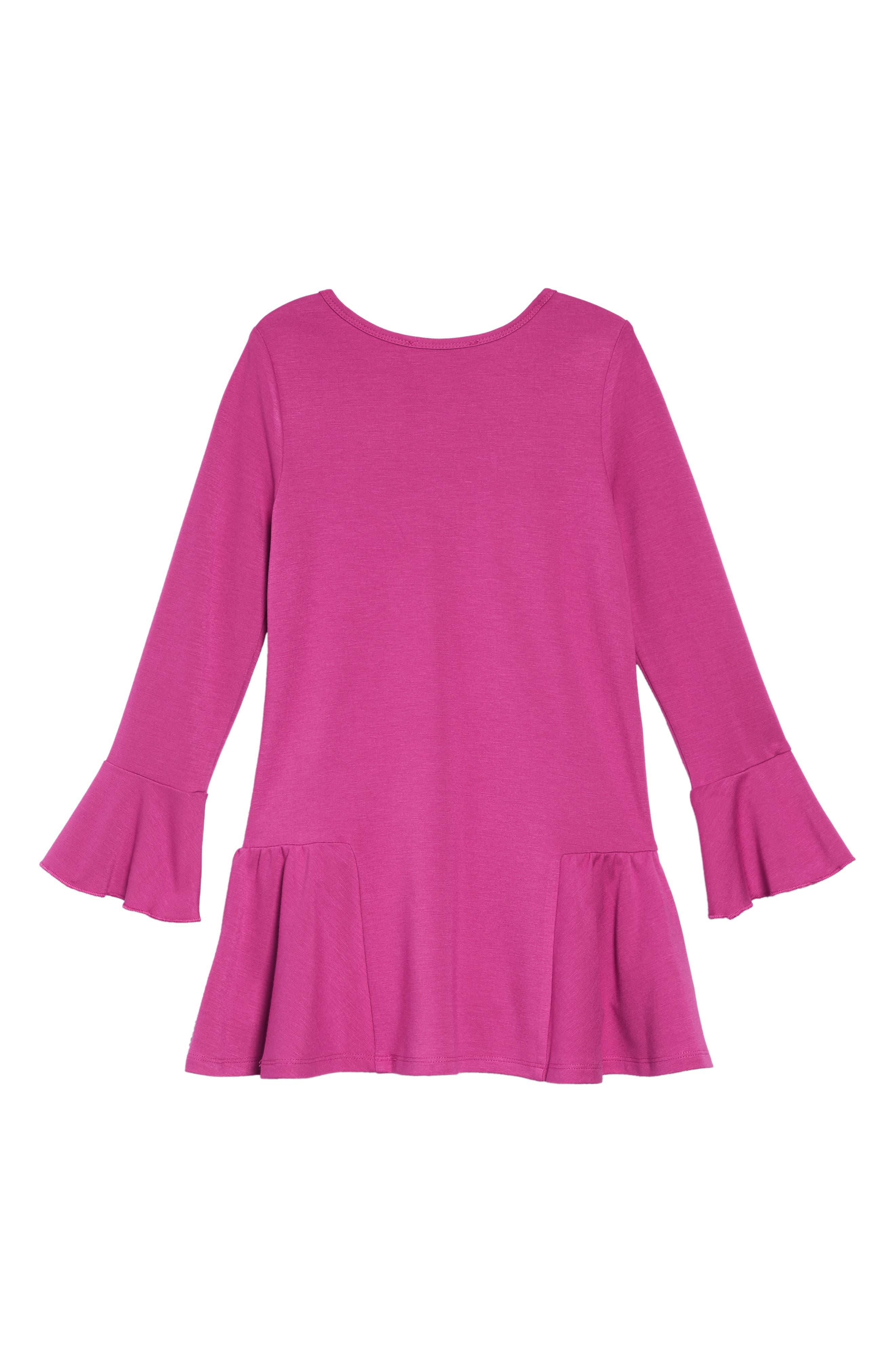 Knit Dress with Faux Fur Pouch,                             Alternate thumbnail 3, color,                             FUSCHIA