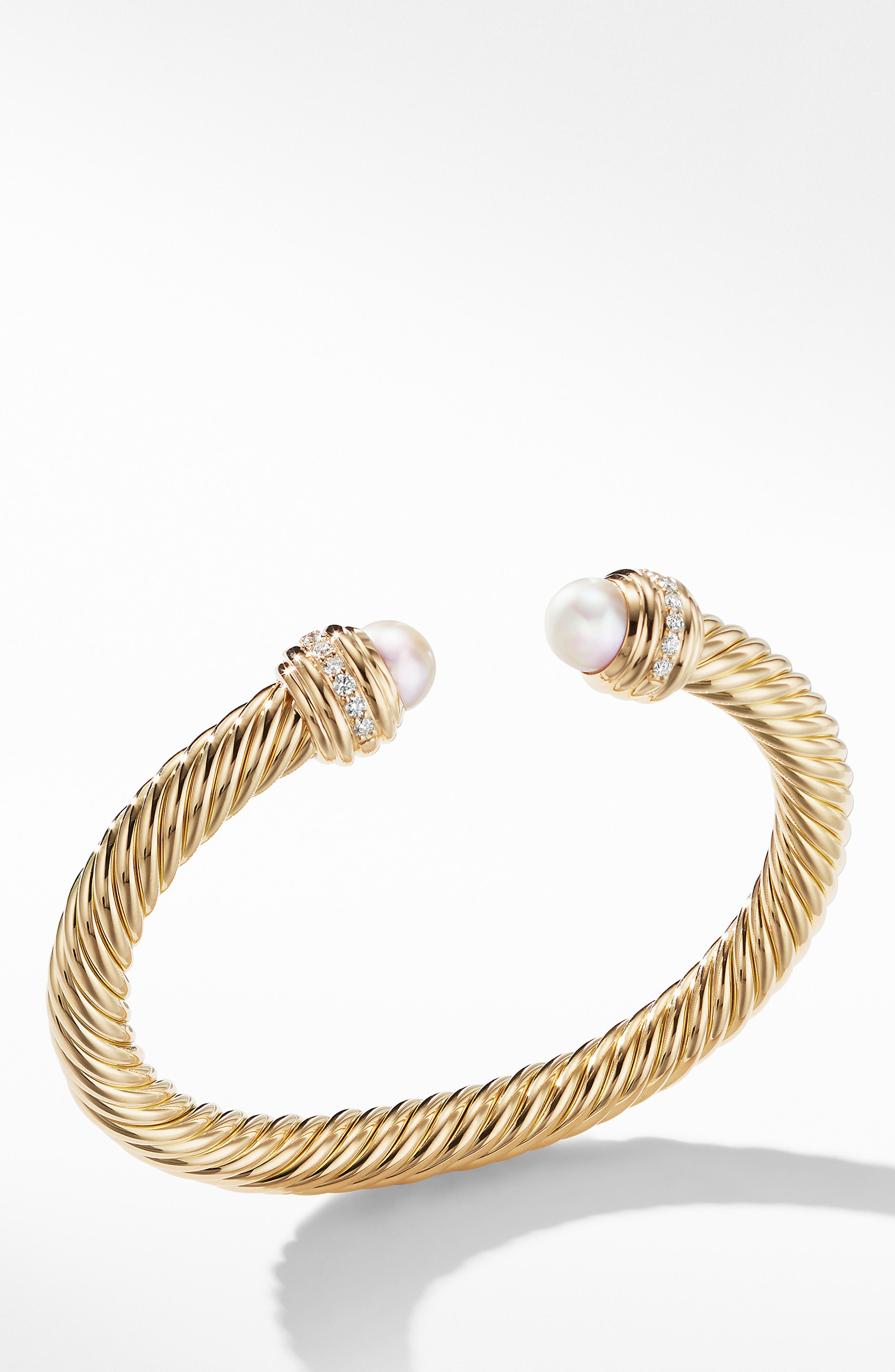 Cable Bracelet in 18K Gold with Diamonds,                             Main thumbnail 1, color,                             YELLOW GOLD/ DIAMOND/ PEARL