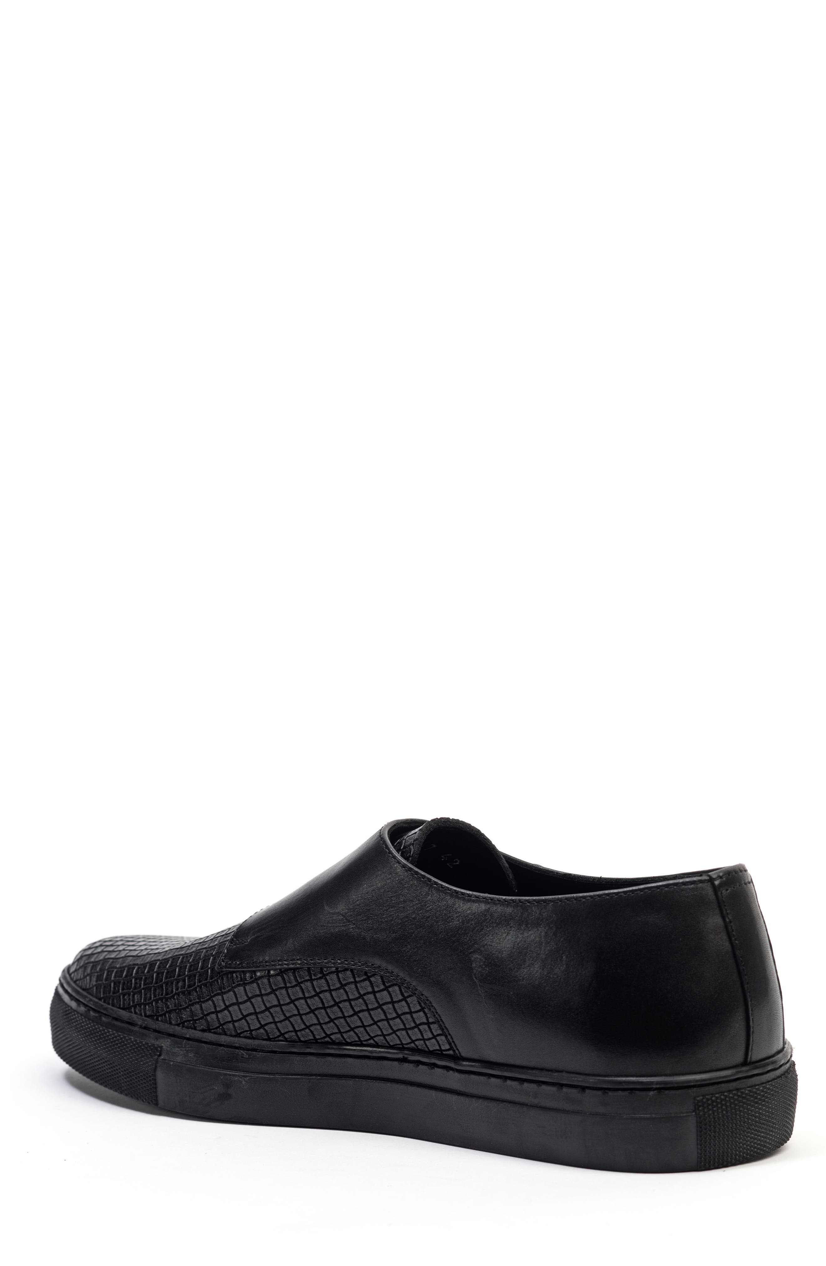 Embossed Monk Strap Sneaker,                             Alternate thumbnail 2, color,                             001