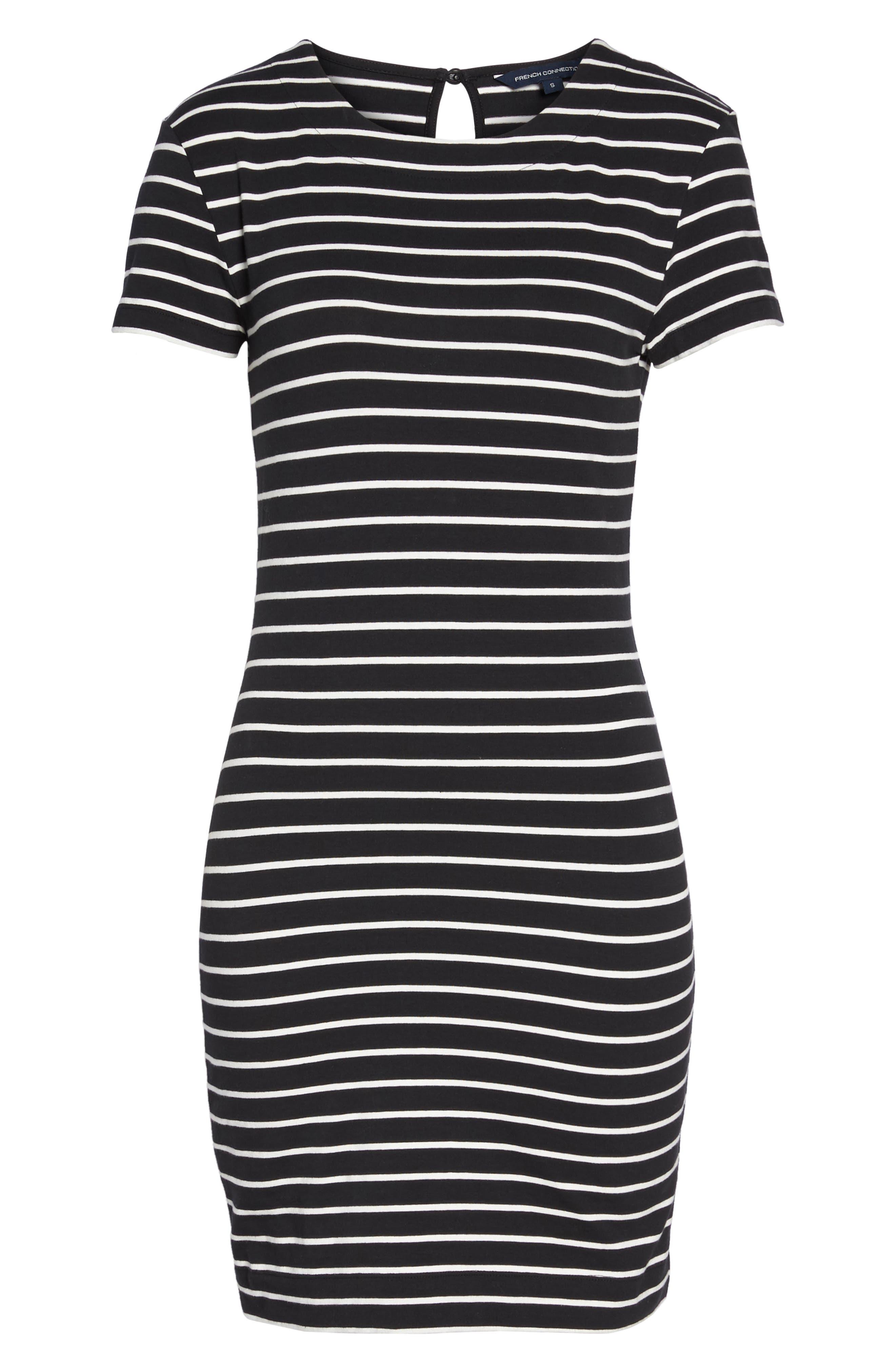 Knit Stripe Body-Con Dress,                             Alternate thumbnail 7, color,                             006