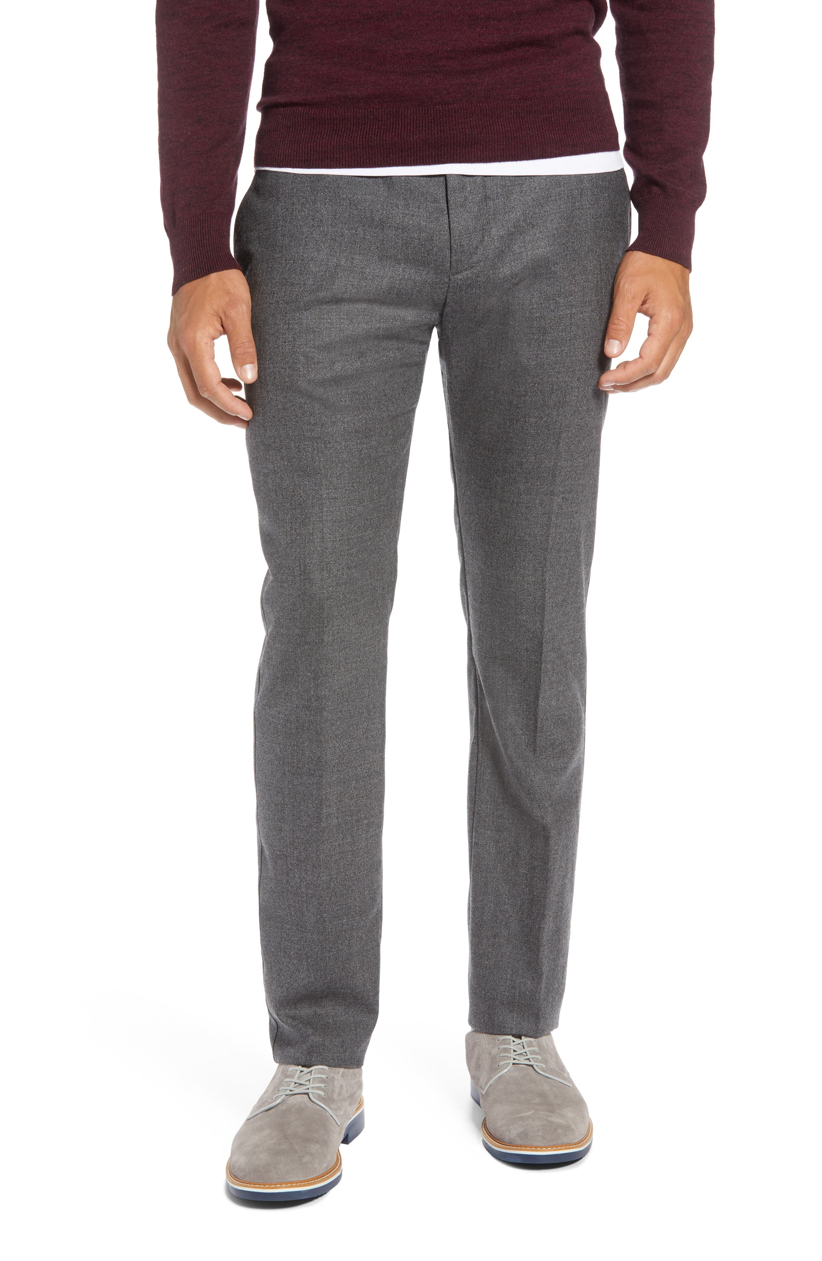 Flat Front Mélange Wool Extra Trim Fit Trousers,                             Main thumbnail 1, color,                             GREY