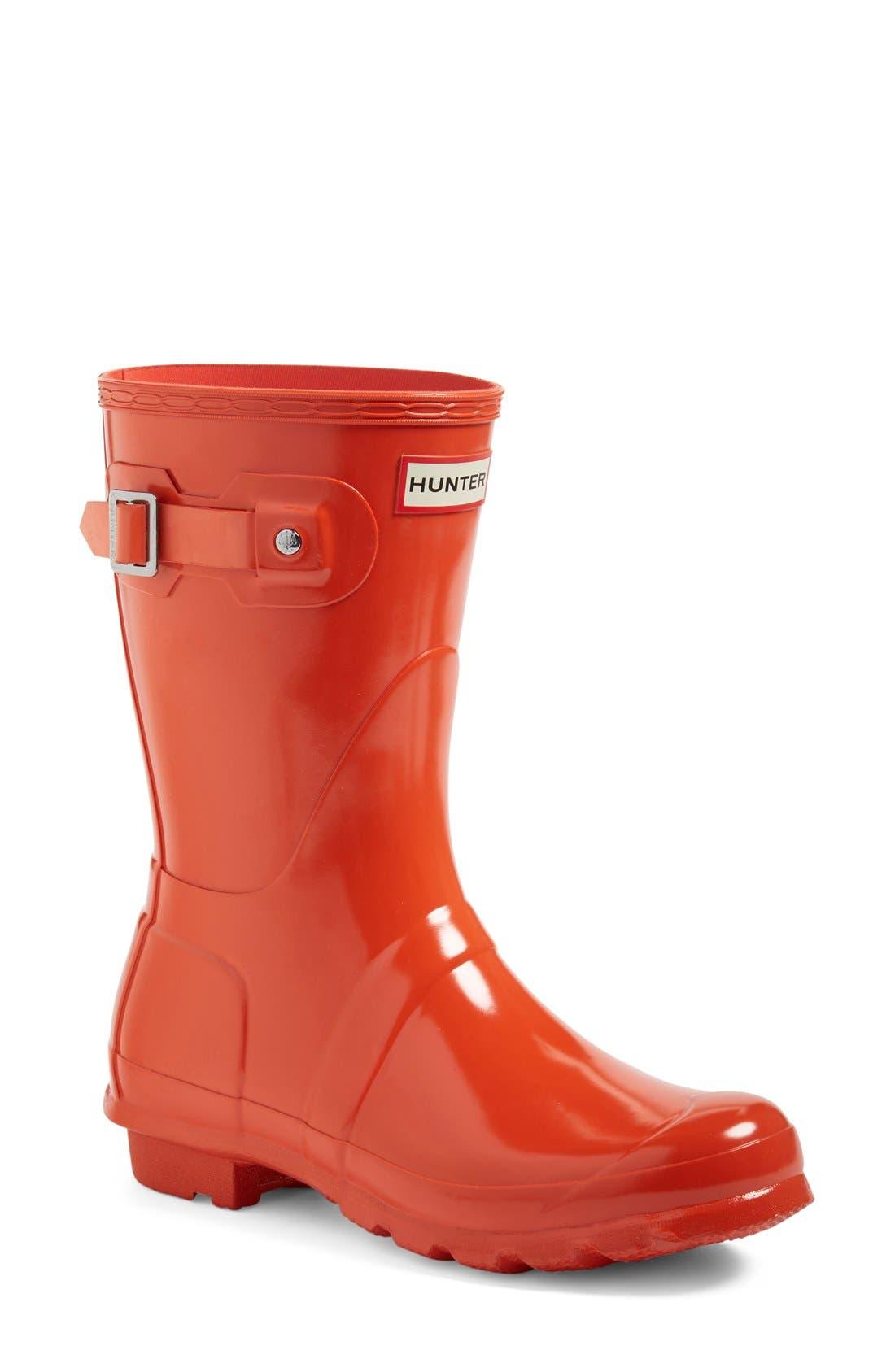 'Original Short' Gloss Rain Boot,                             Main thumbnail 1, color,                             ORANGE