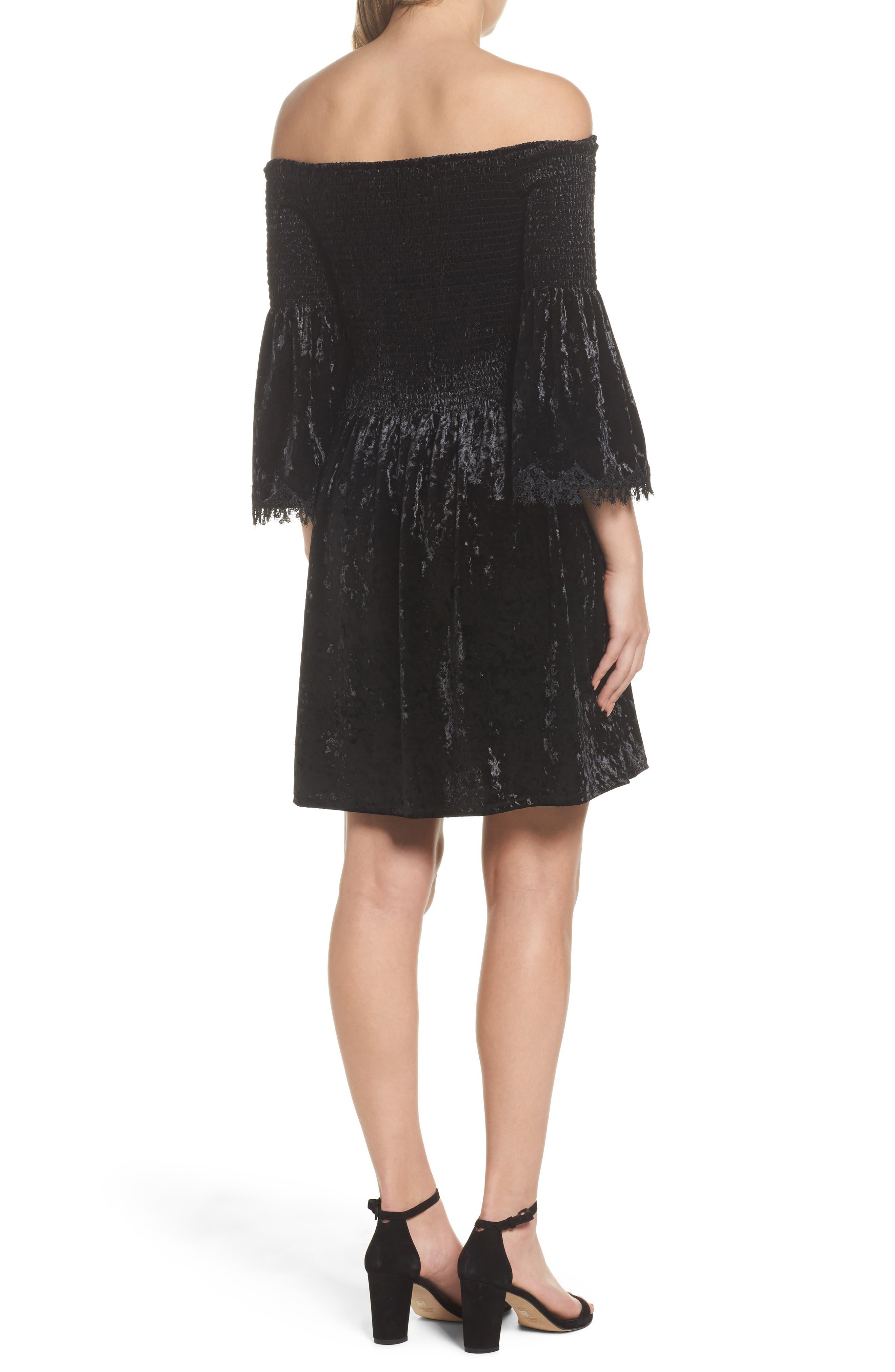 Donella Off the Shoulder Velvet Dress,                             Alternate thumbnail 2, color,