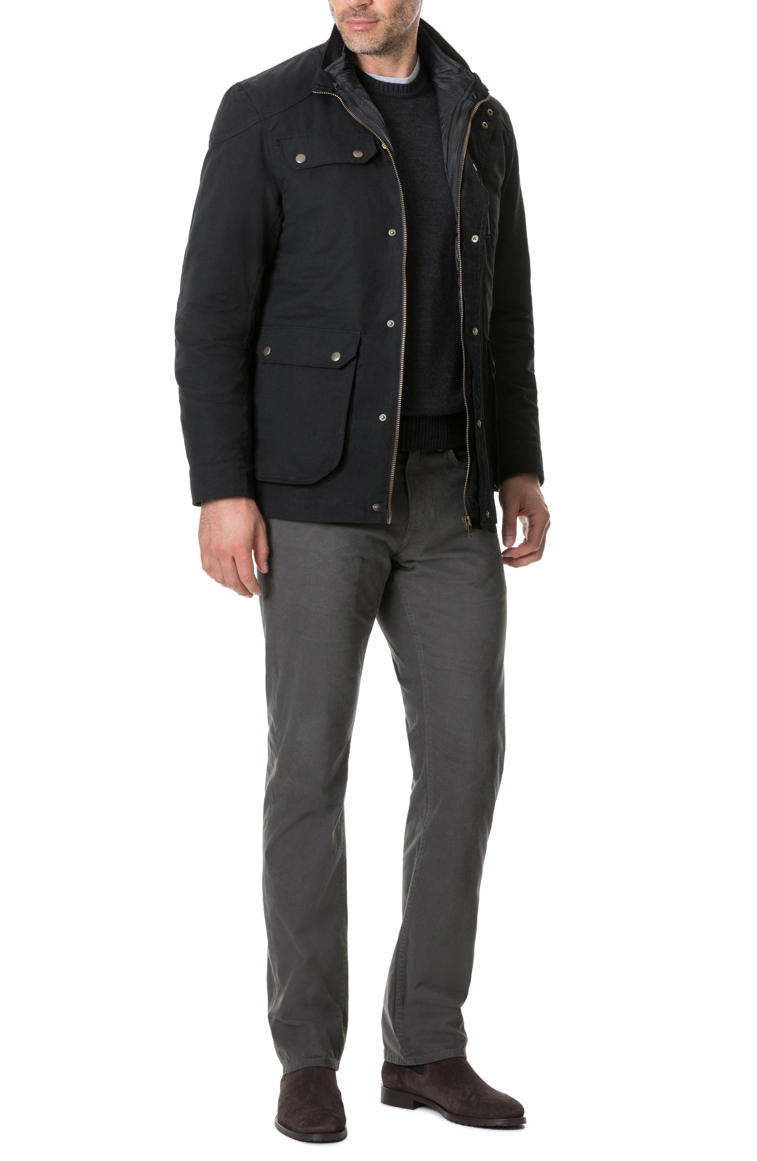 'Harper' Water Resistant 3-in-1 Waxed Canvas Jacket,                             Alternate thumbnail 10, color,                             ONYX