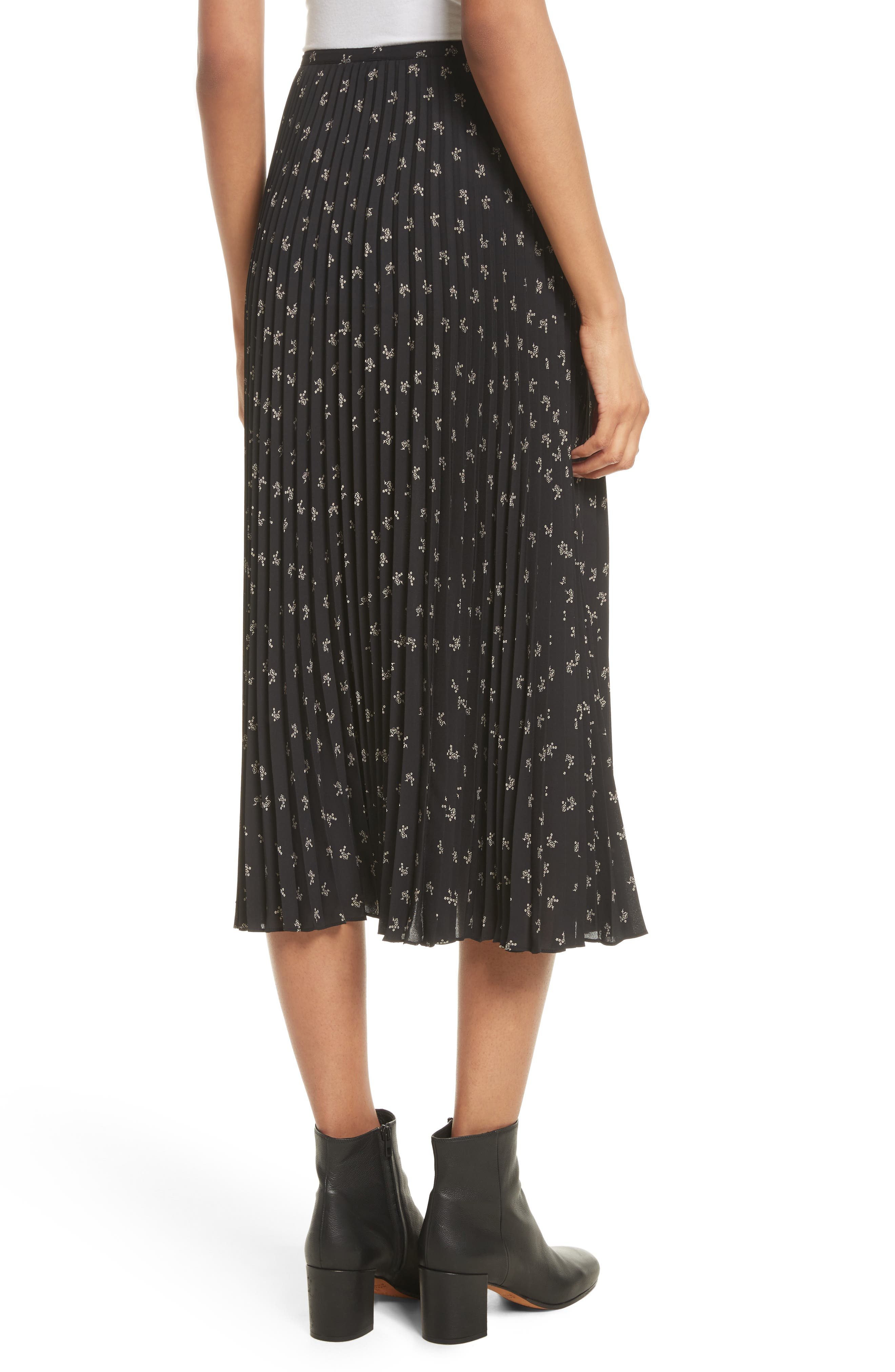 Tossed Ditsy Floral Pleated Skirt,                             Alternate thumbnail 2, color,                             008