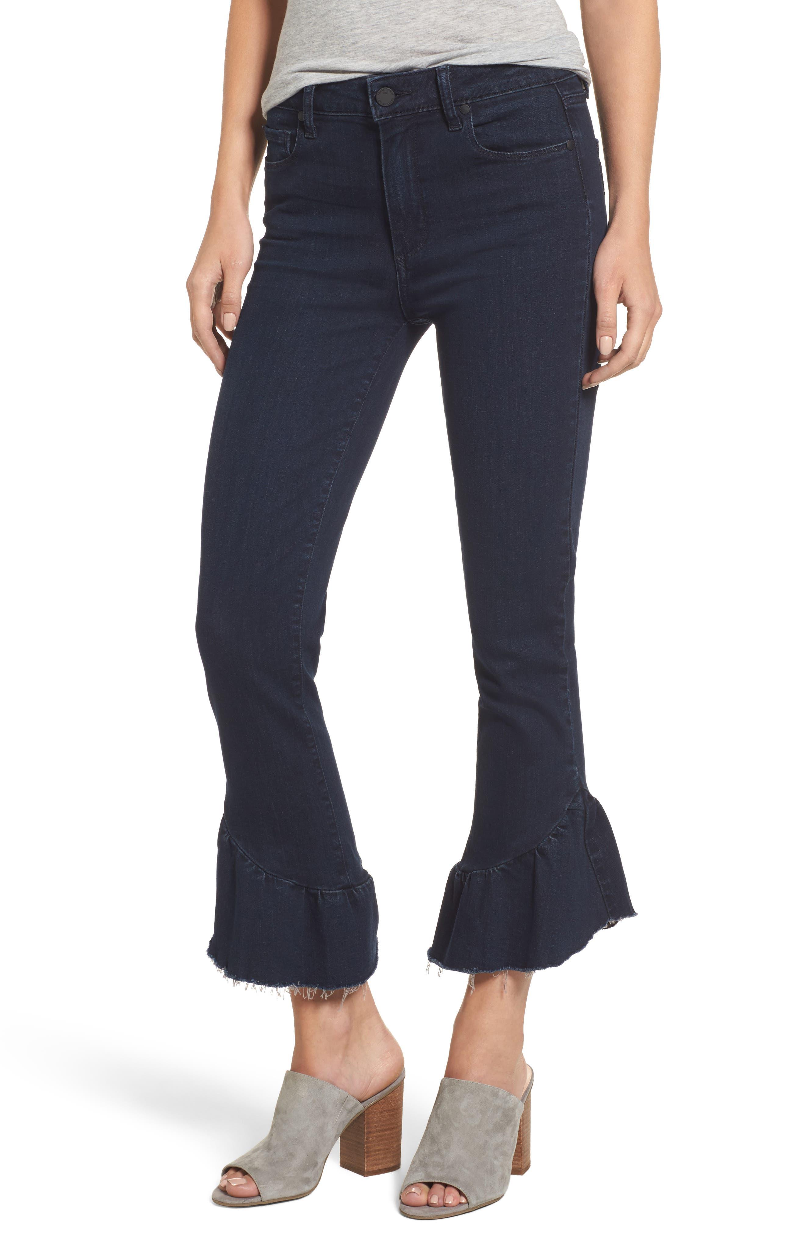 Flora Ruffle Hem Crop Straight Leg Jeans,                         Main,                         color, 400