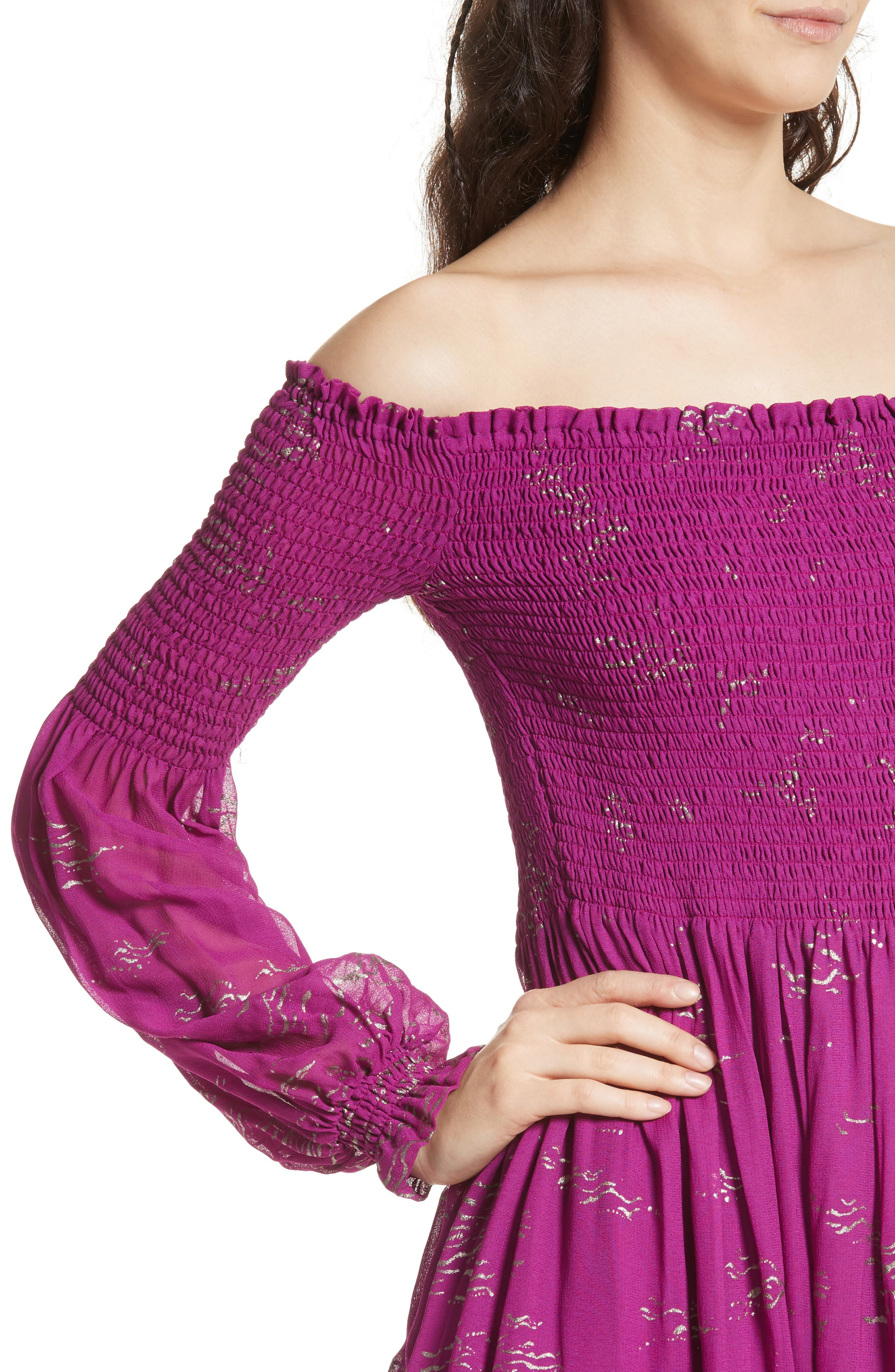 Foiled Smocked Midi Dress,                             Alternate thumbnail 8, color,