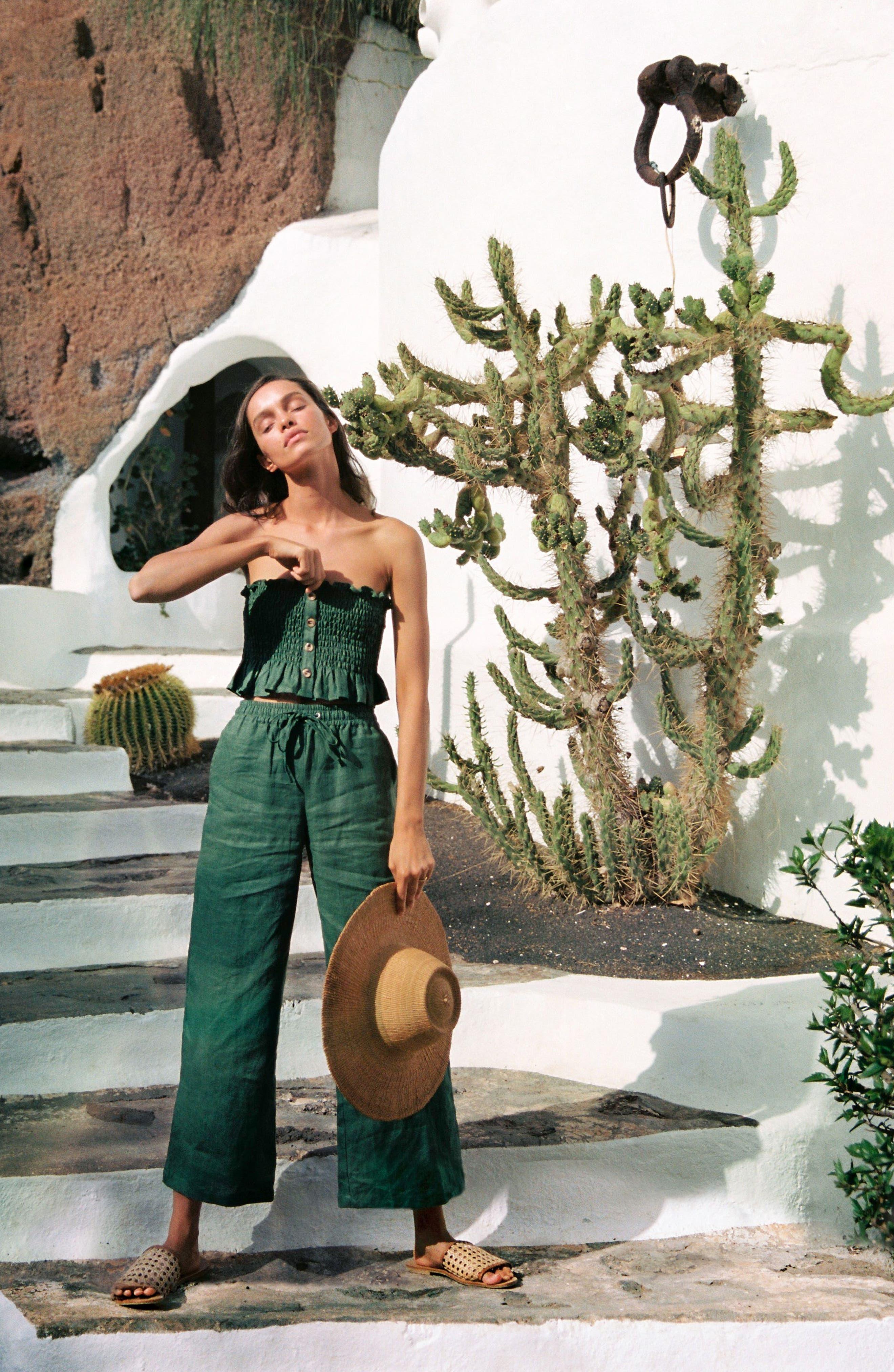 Clemence Linen Pants,                             Alternate thumbnail 3, color,                             PLAIN MOSS GREEN