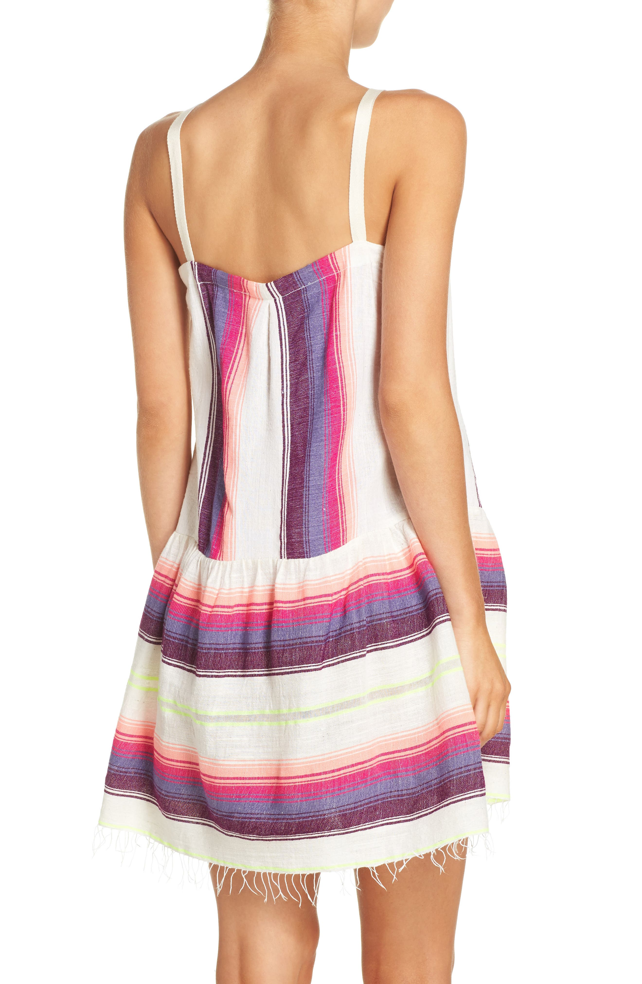 Stripe Cover-Up Dress,                             Alternate thumbnail 2, color,                             100