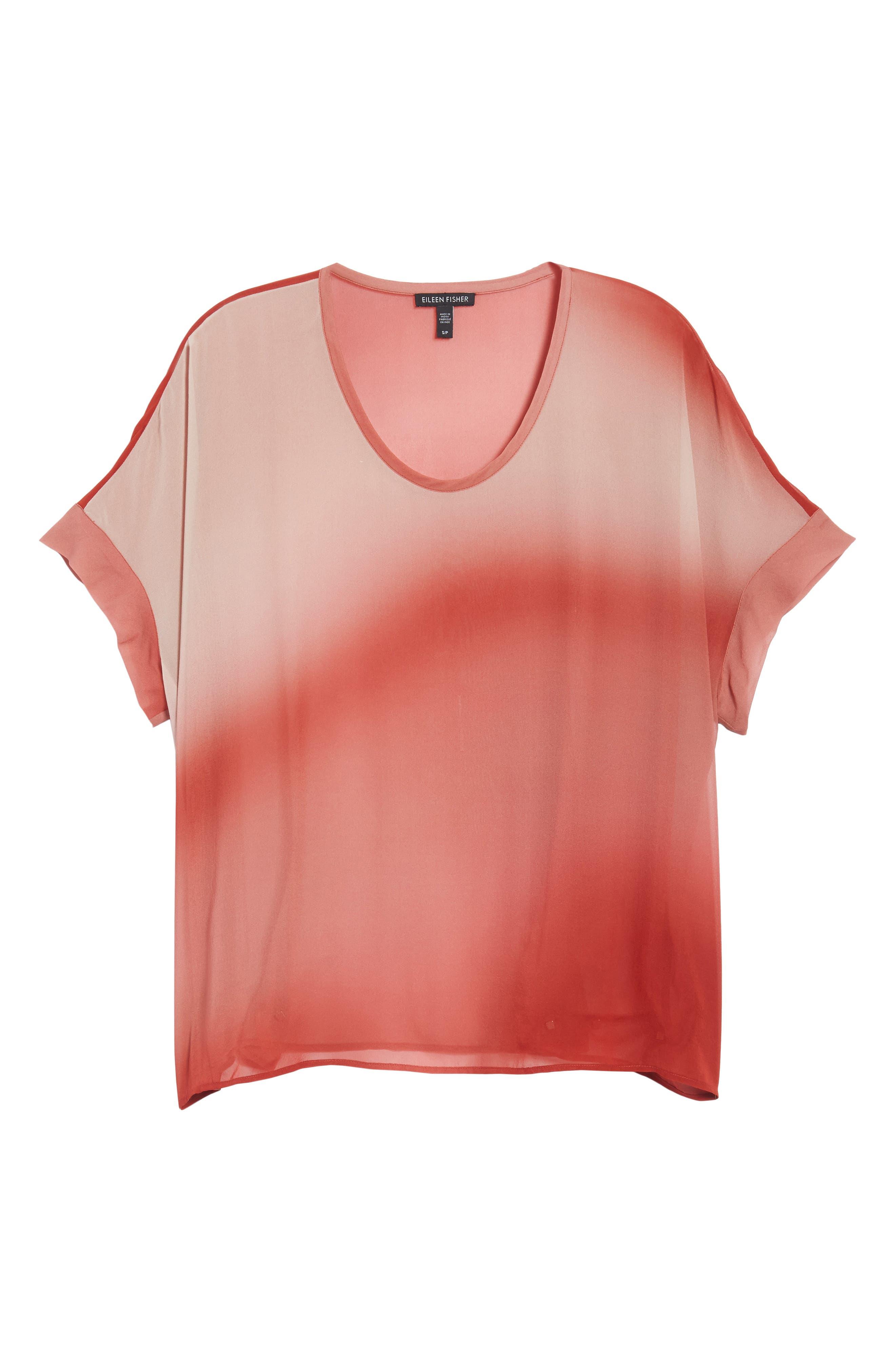Ombré Silk Short Sleeve Top,                             Alternate thumbnail 6, color,                             643