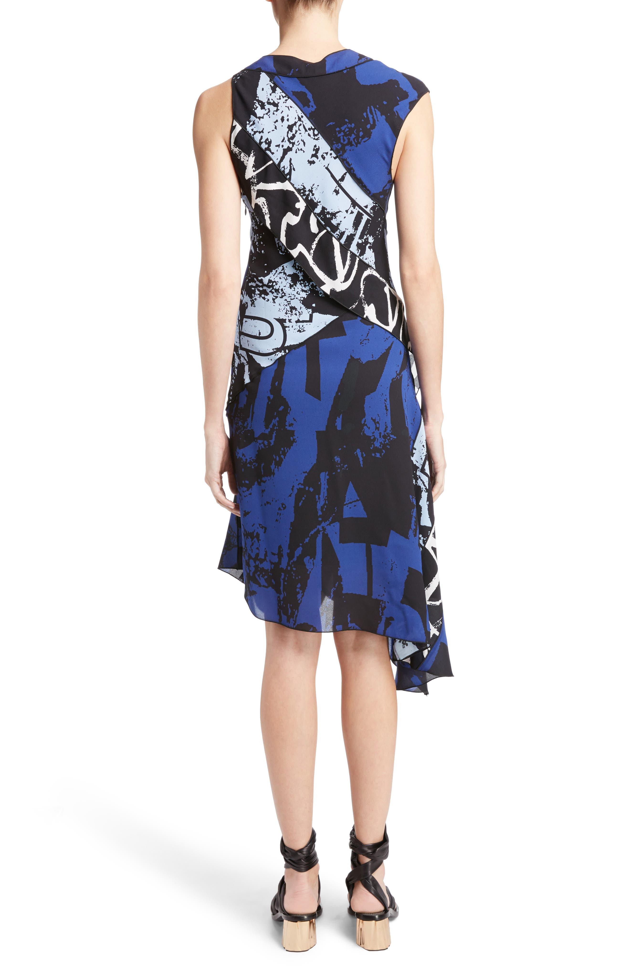 Print Silk Georgette Asymmetrical Dress,                             Alternate thumbnail 2, color,                             400
