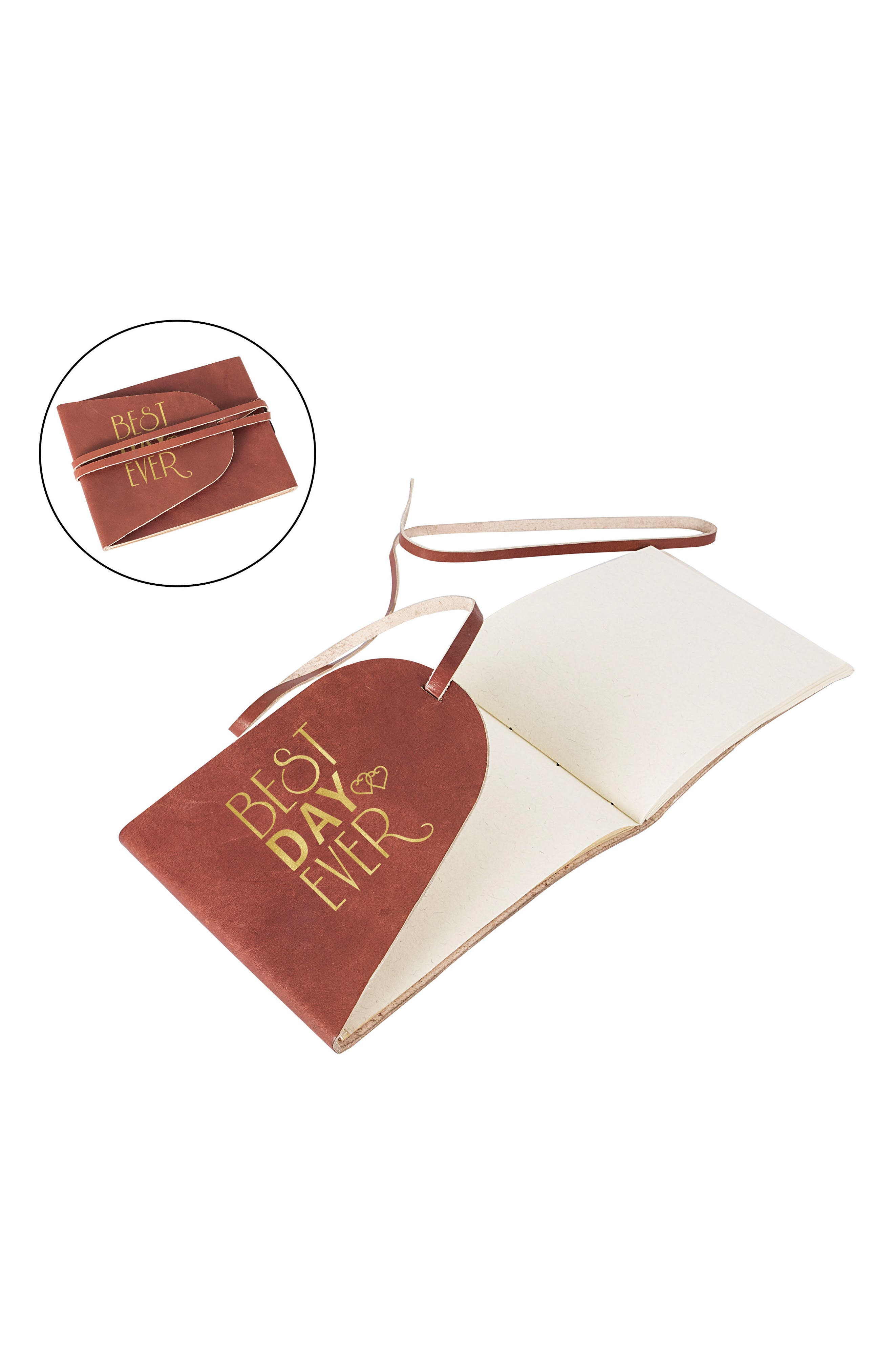 Best Day Ever Leather Guest Book,                             Alternate thumbnail 2, color,                             710