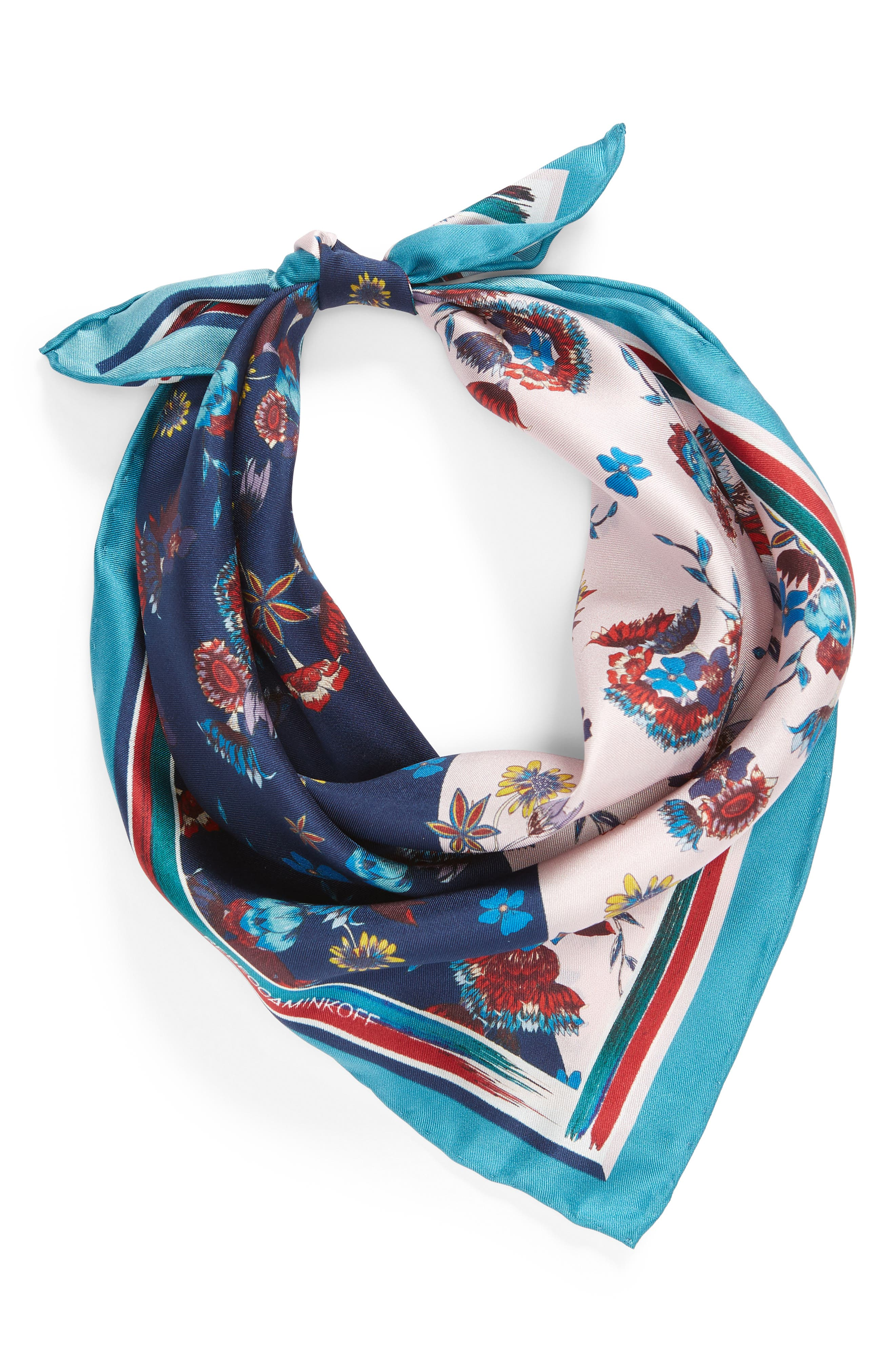 Pressed Floral Silk Bandana,                             Alternate thumbnail 2, color,                             PINK