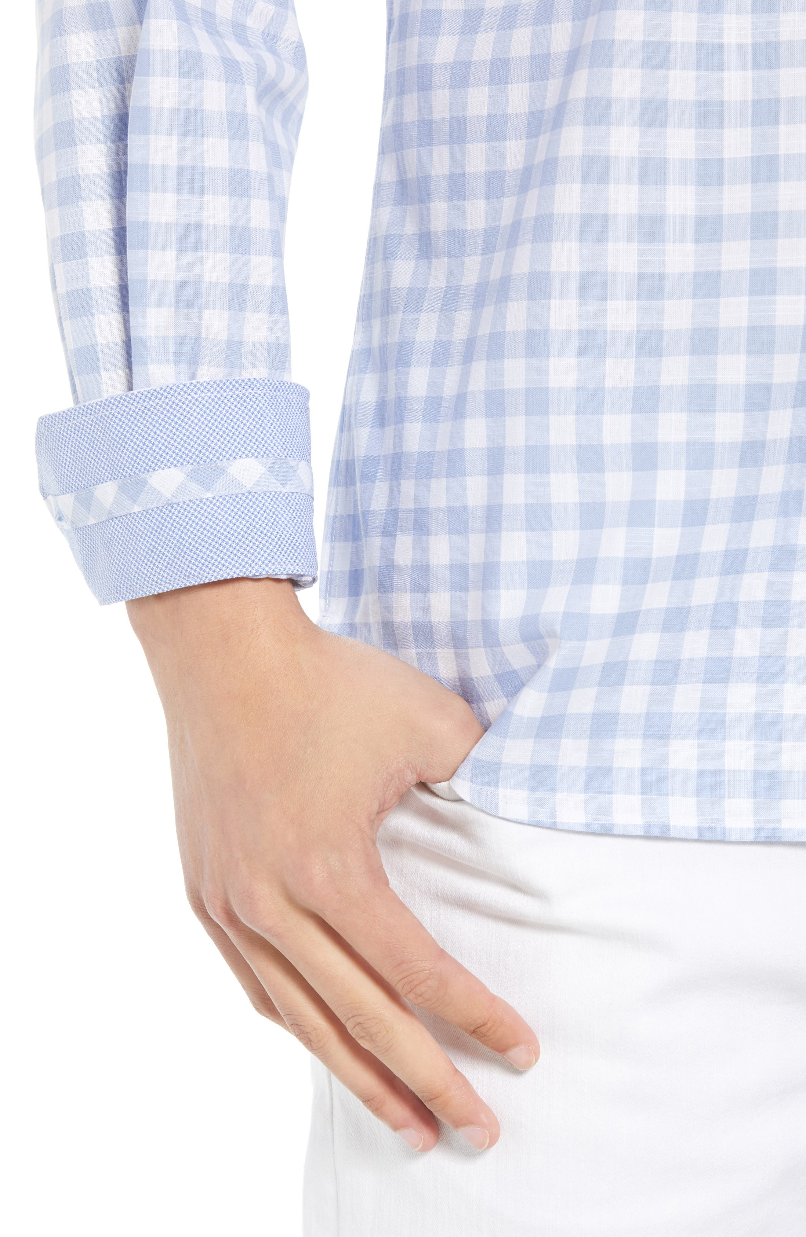 Eitenne Regular Fit Check Sport Shirt,                             Alternate thumbnail 4, color,                             450
