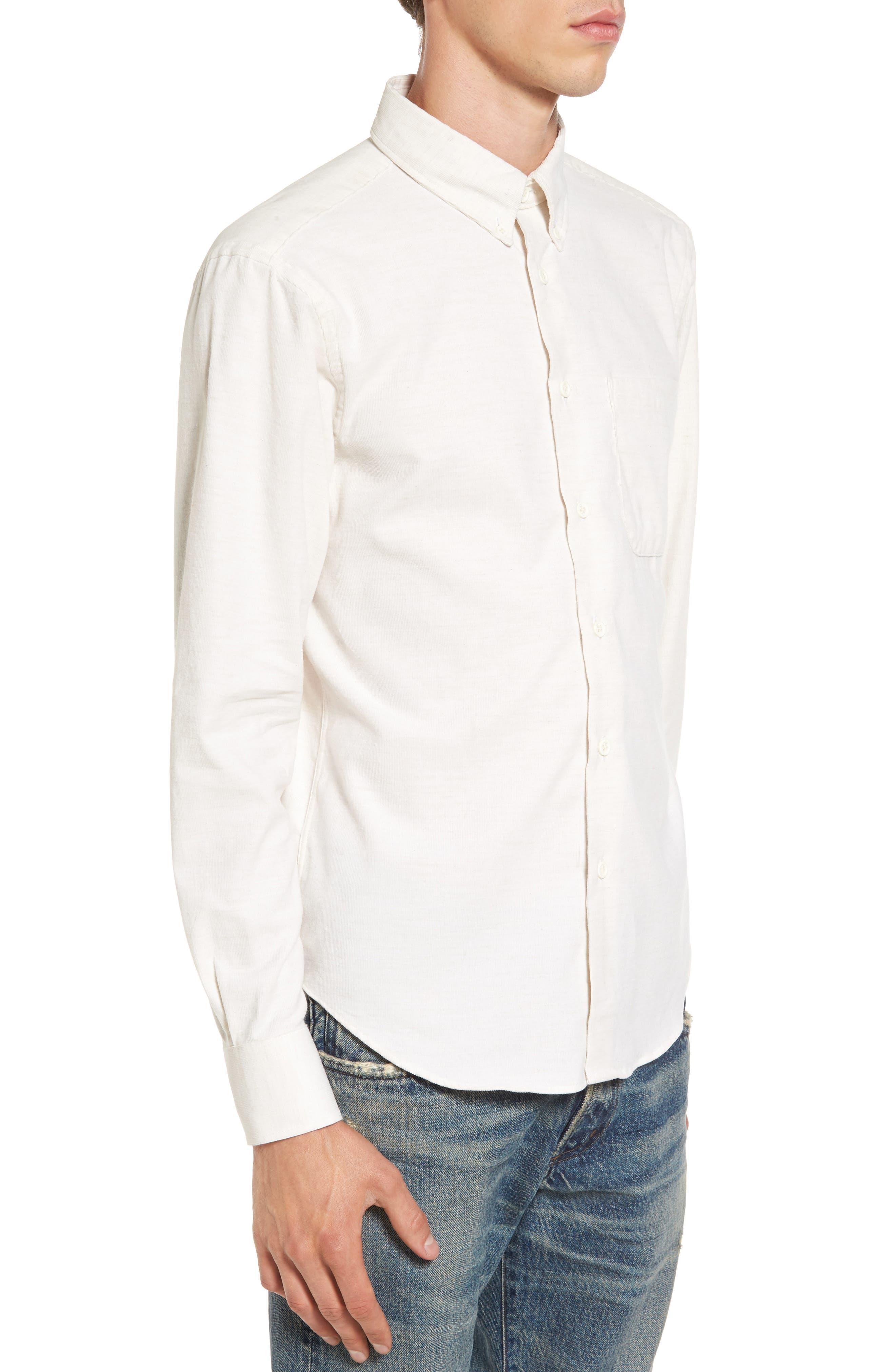 Corduroy Button Down Shirt,                             Alternate thumbnail 3, color,                             100