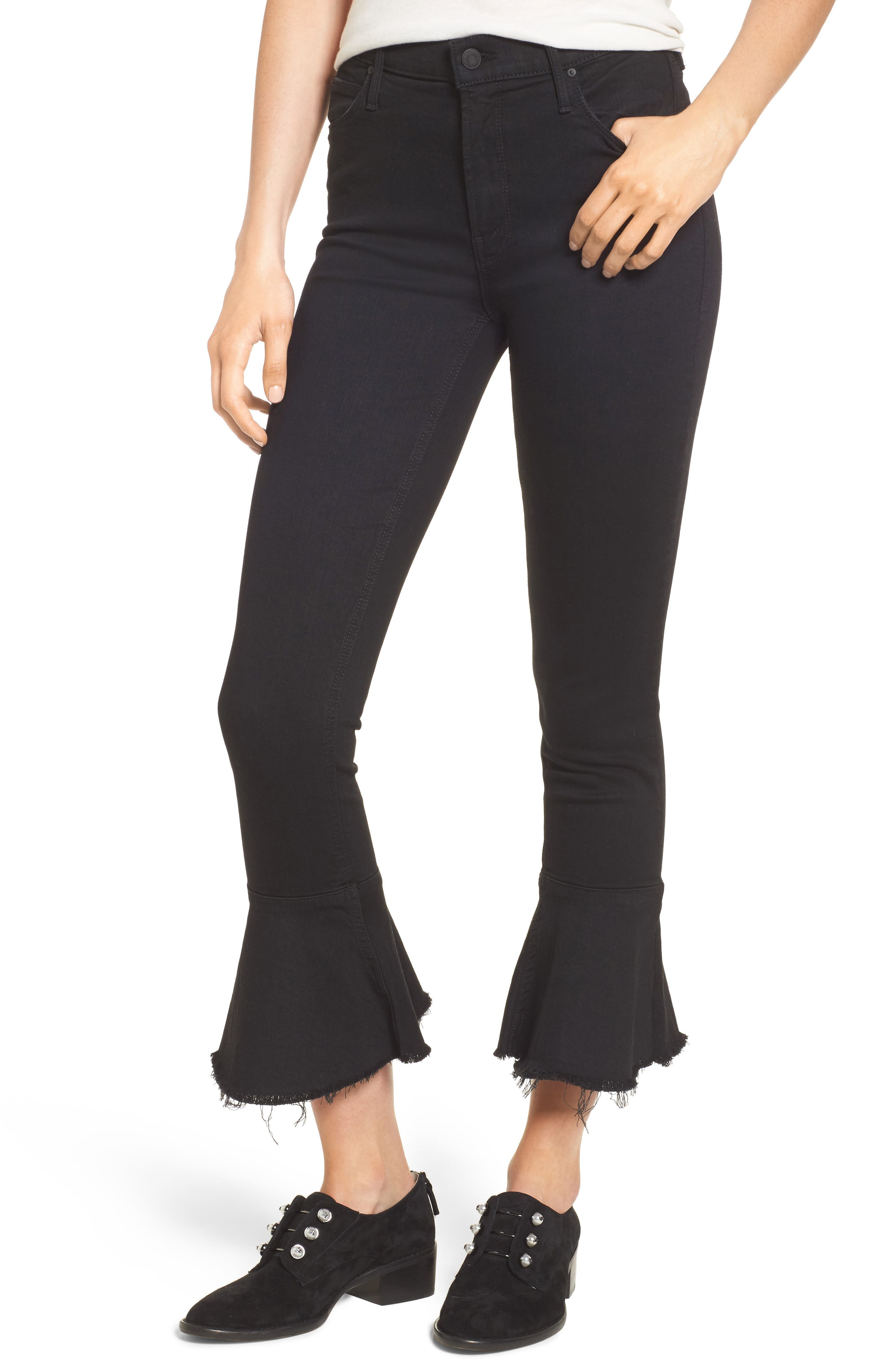The Cha Cha Fray Flare Crop Jeans,                             Main thumbnail 1, color,                             001
