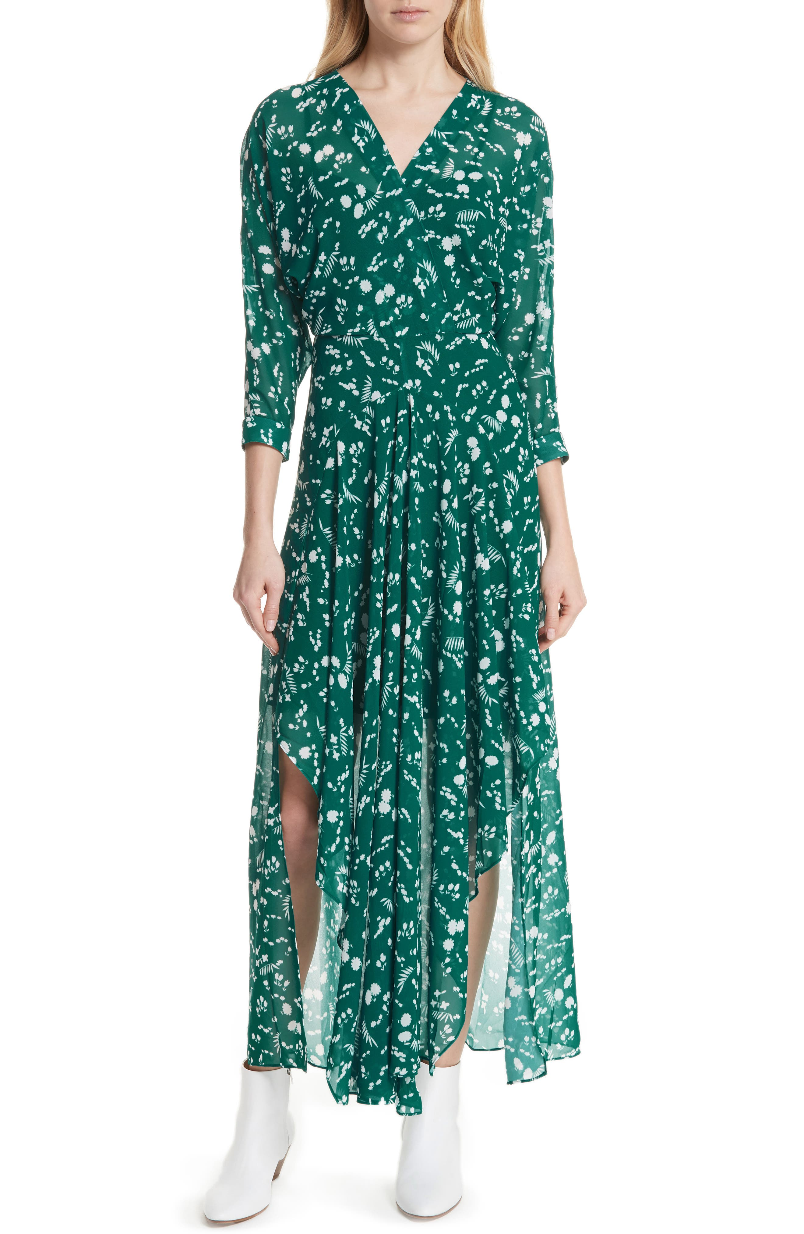 Floral Print Maxi Dress,                             Main thumbnail 1, color,