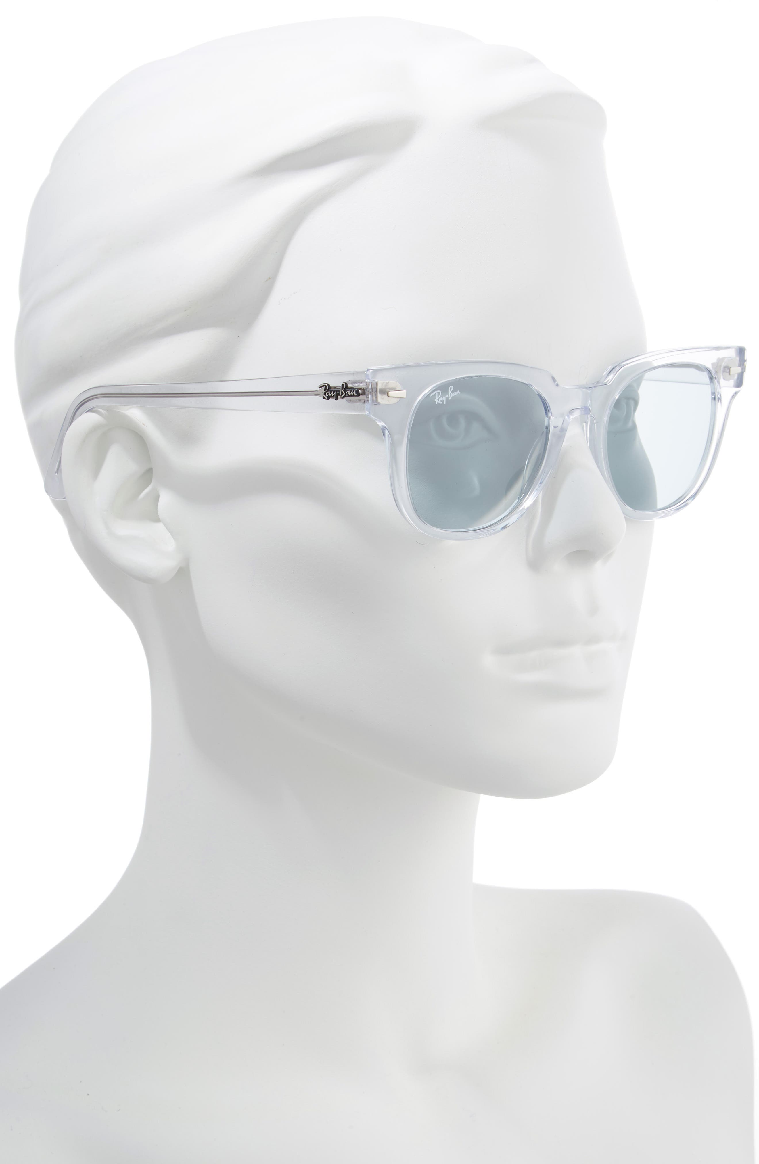 Meteor 50mm Polarized Wayfarer Sunglasses,                             Alternate thumbnail 2, color,                             CRYSTAL/ BLUE SOLID