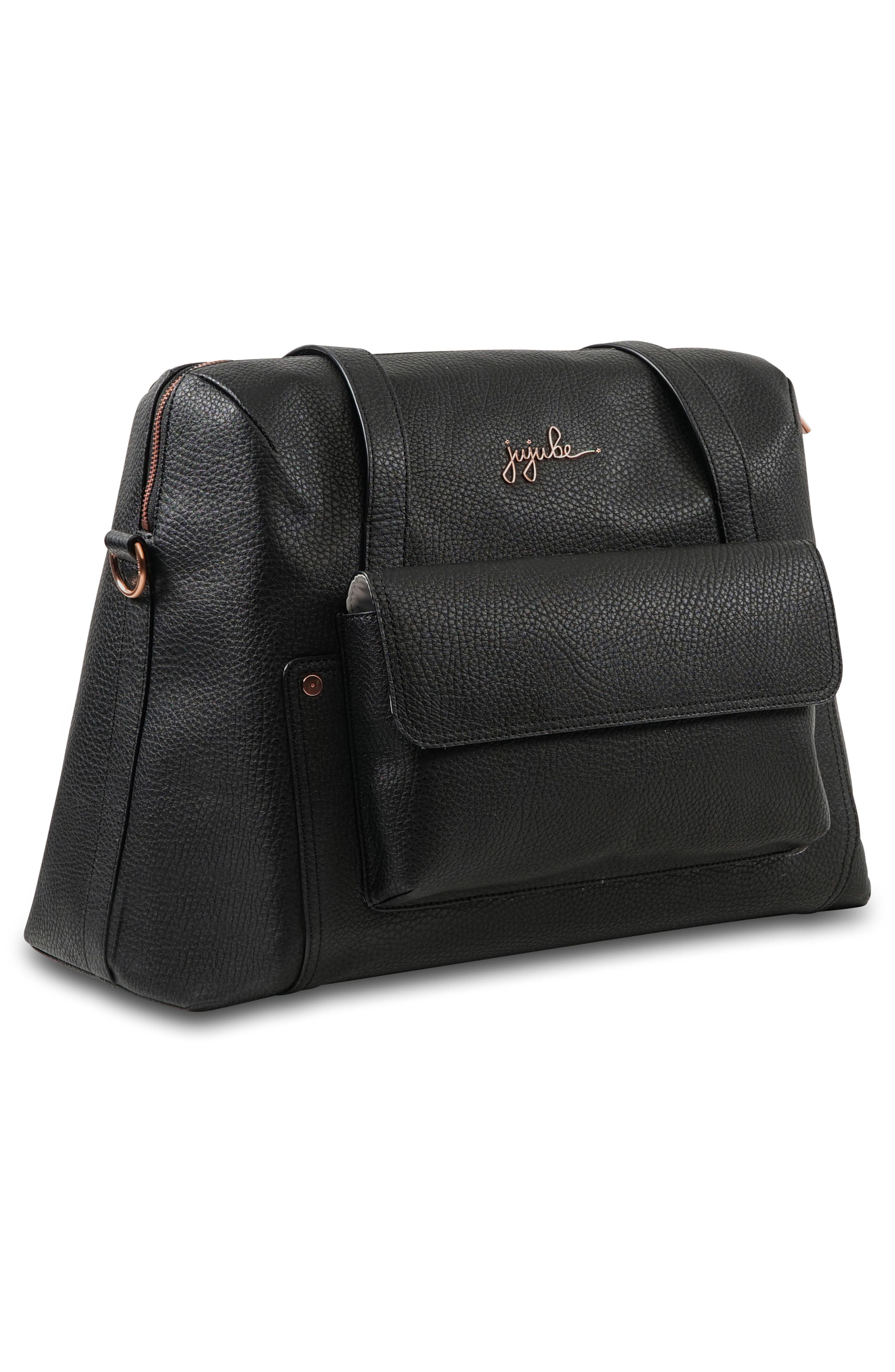Ever Collection Wherever Faux Leather Weekend Diaper Bag,                             Alternate thumbnail 4, color,                             NOIR ROSE