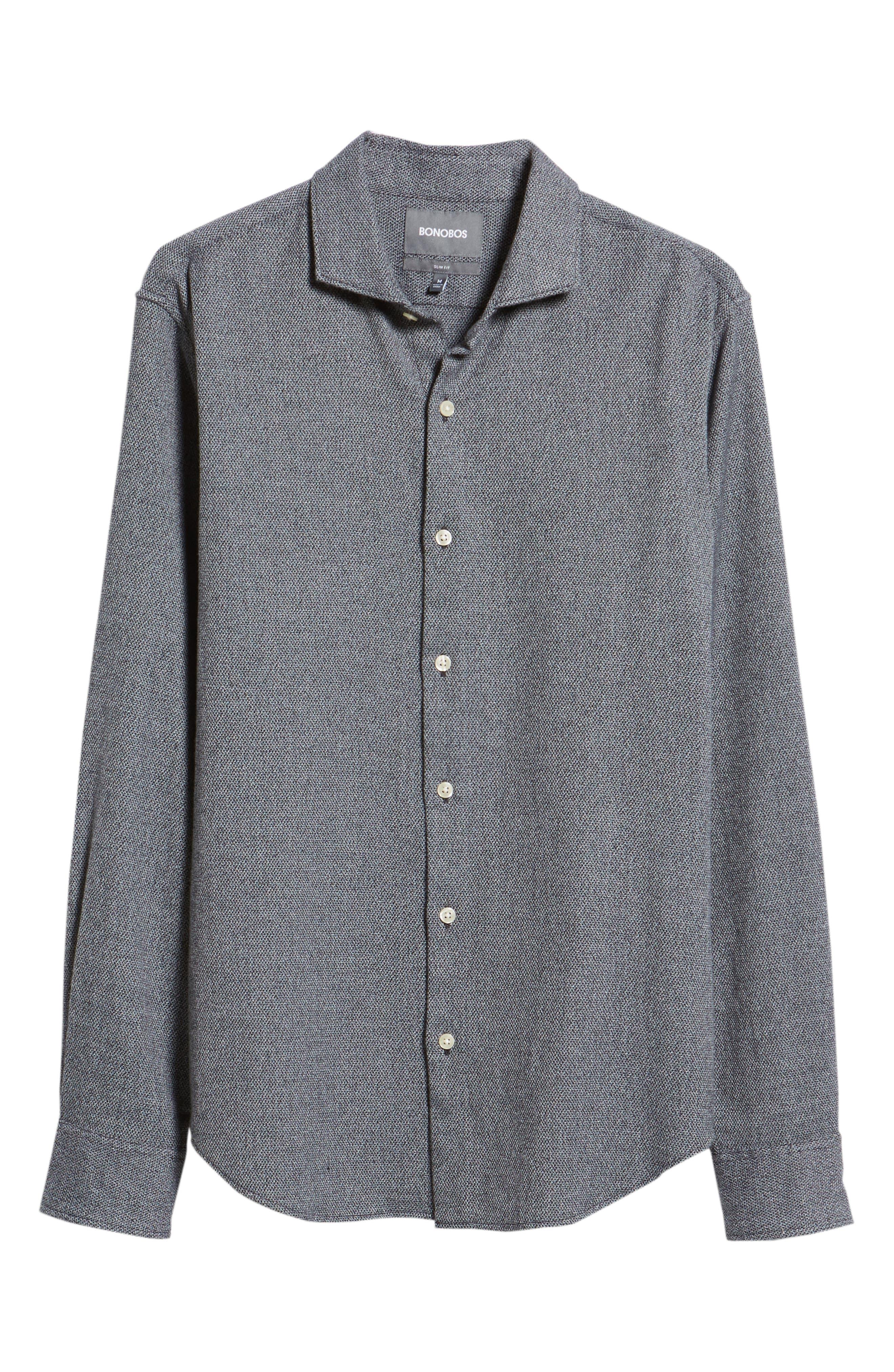 Unbutton Slim Fit Sport Shirt,                             Alternate thumbnail 5, color,                             JASPE TEXTURE - STERLING